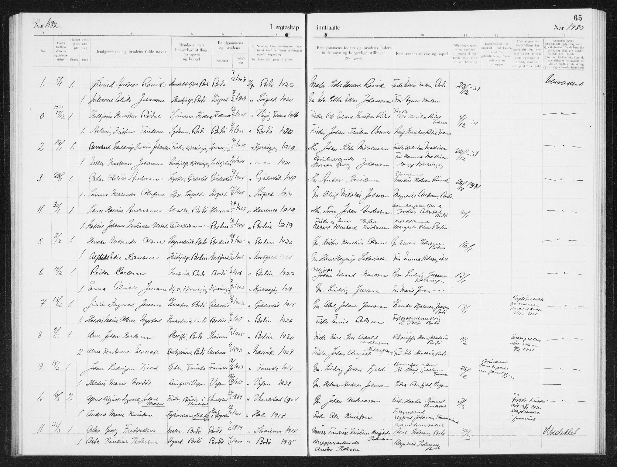 SAT, Ministerialprotokoller, klokkerbøker og fødselsregistre - Nordland, 801/L0036: Klokkerbok nr. 801C11, 1920-1934, s. 65