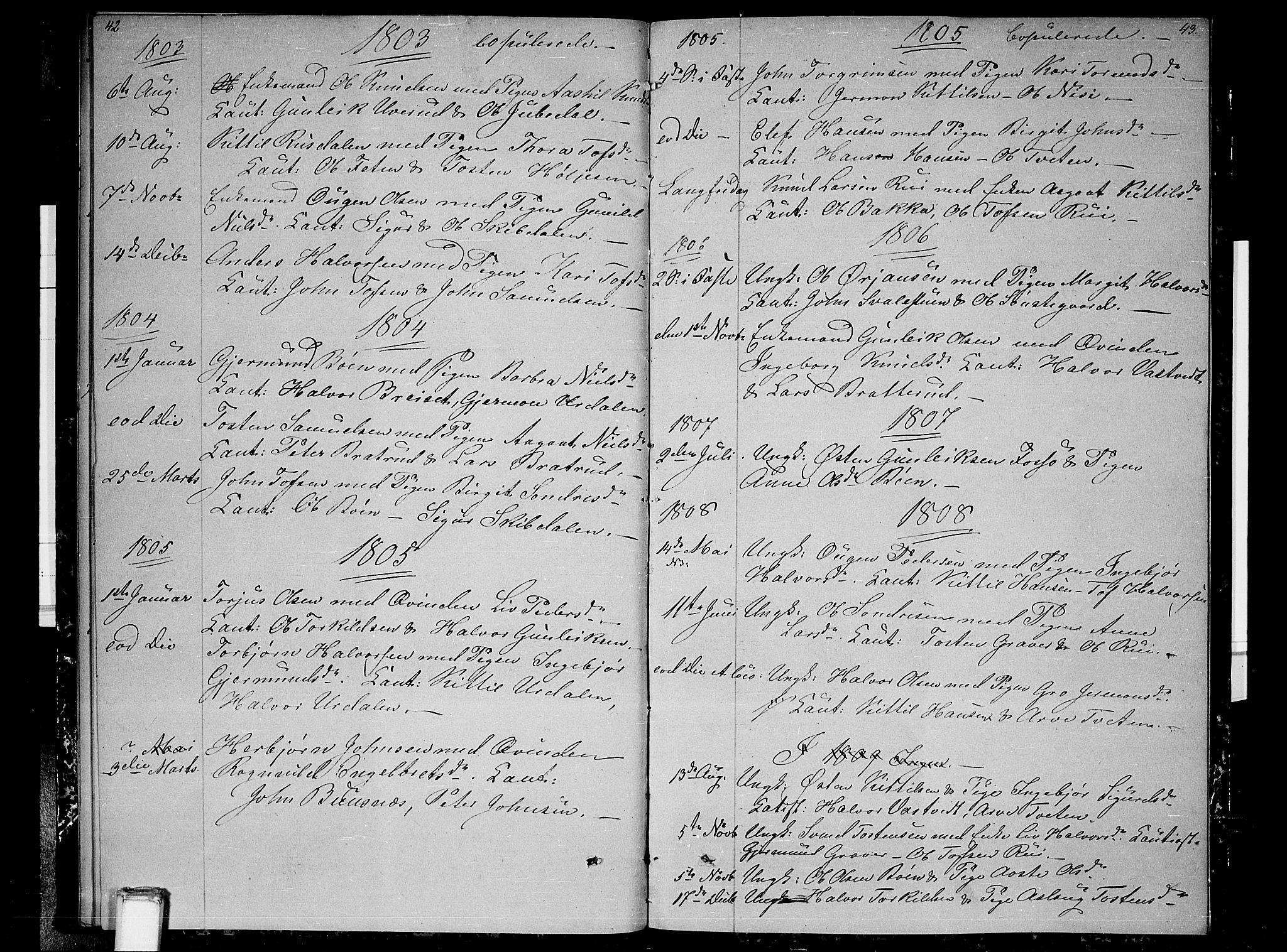SAKO, Gransherad kirkebøker, F/Fb/L0001: Ministerialbok nr. II 1, 1800-1814, s. 42-43