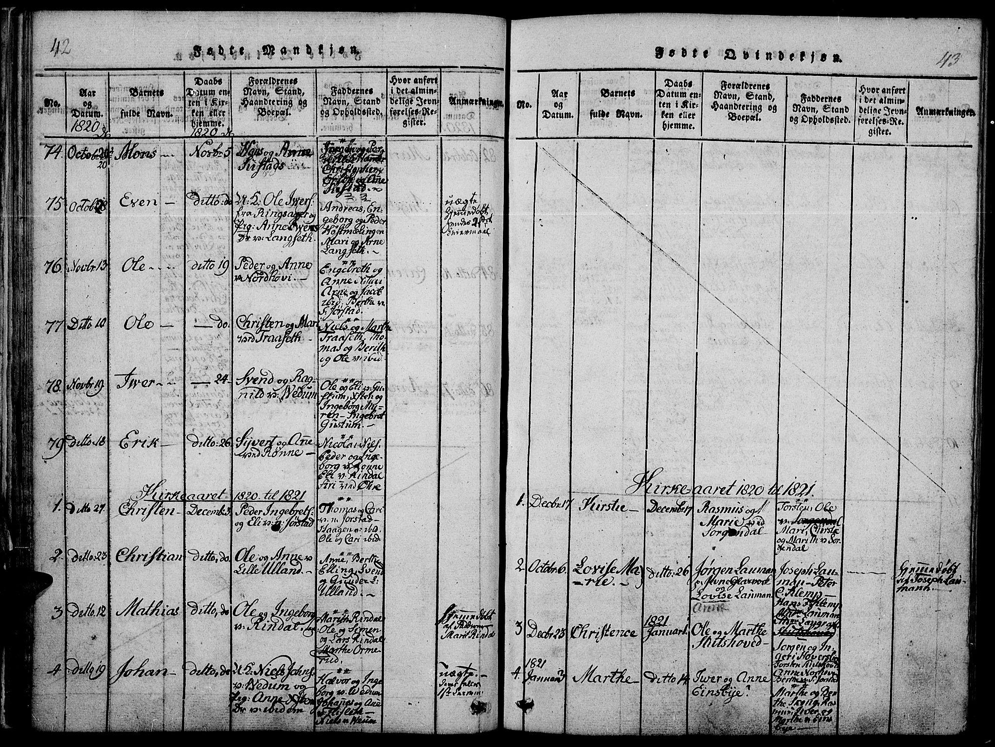 SAH, Fåberg prestekontor, Ministerialbok nr. 3, 1818-1833, s. 42-43