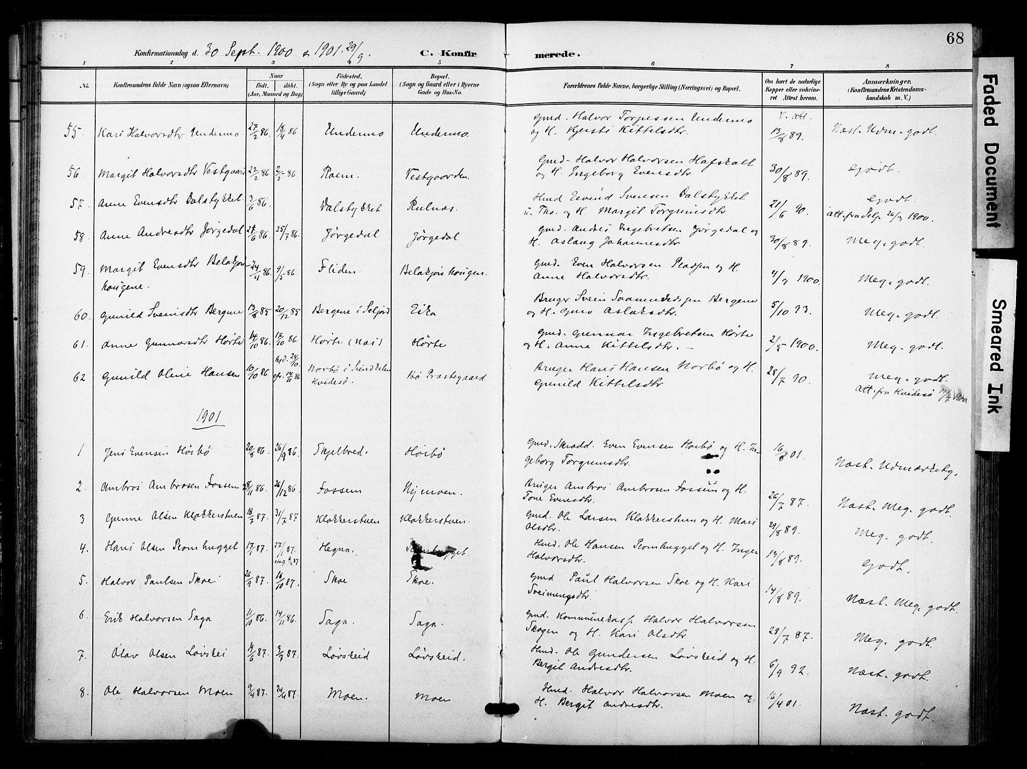 SAKO, Bø kirkebøker, F/Fa/L0012: Ministerialbok nr. 12, 1900-1908, s. 68