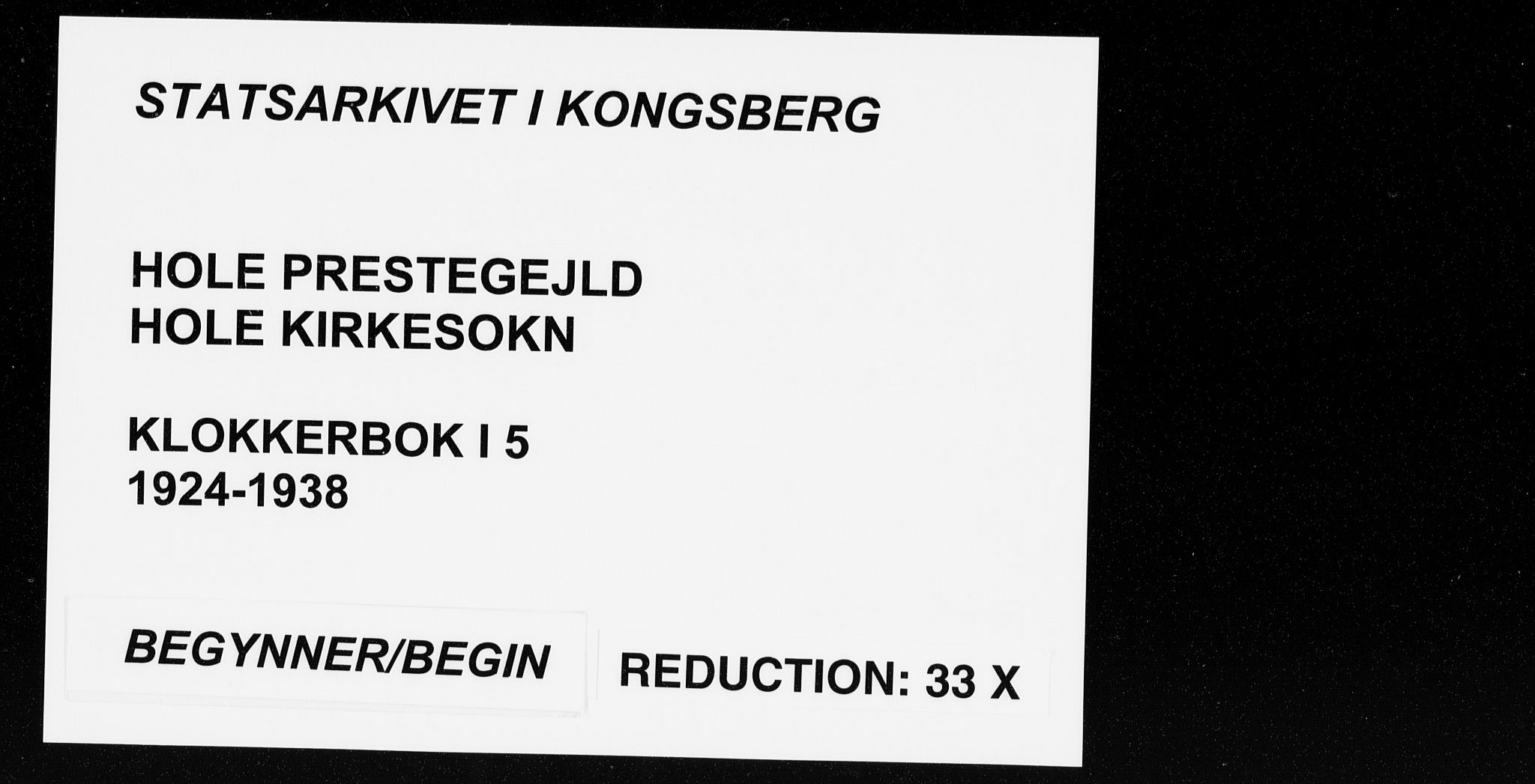 SAKO, Hole kirkebøker, G/Ga/L0005: Klokkerbok nr. I 5, 1924-1938