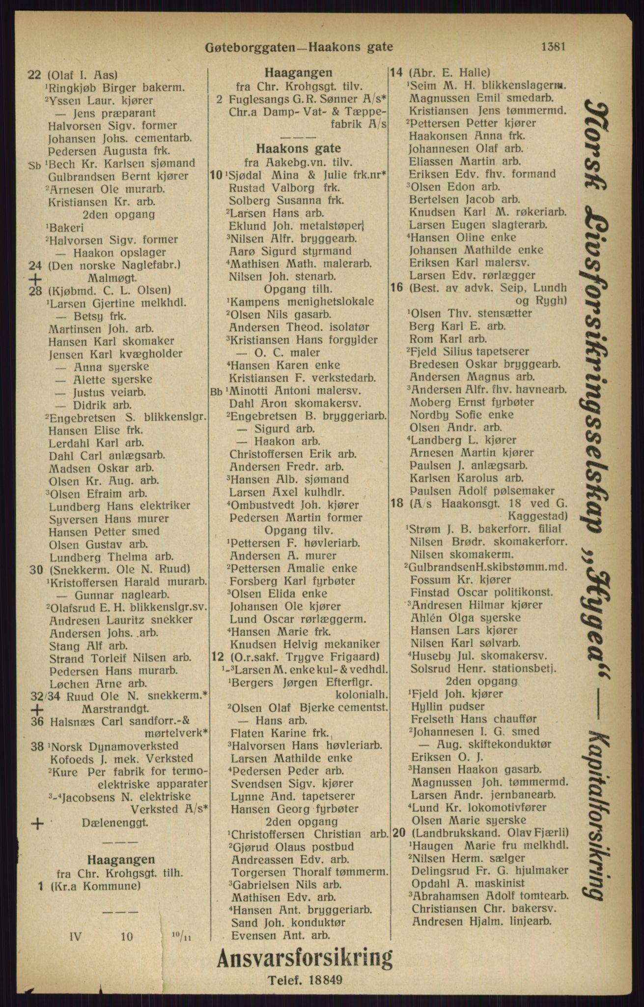 RA, Kristiania adressebok (publikasjon)*, 1916, s. 1381