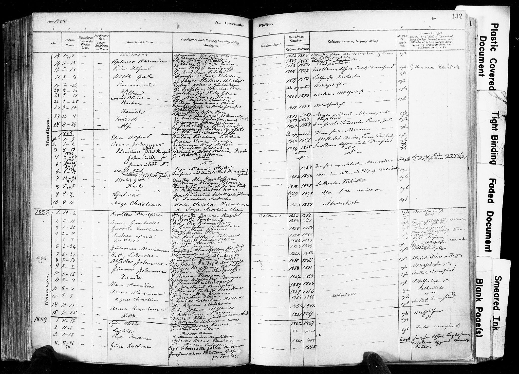SAKO, Skien kirkebøker, F/Fa/L0009: Ministerialbok nr. 9, 1878-1890, s. 132