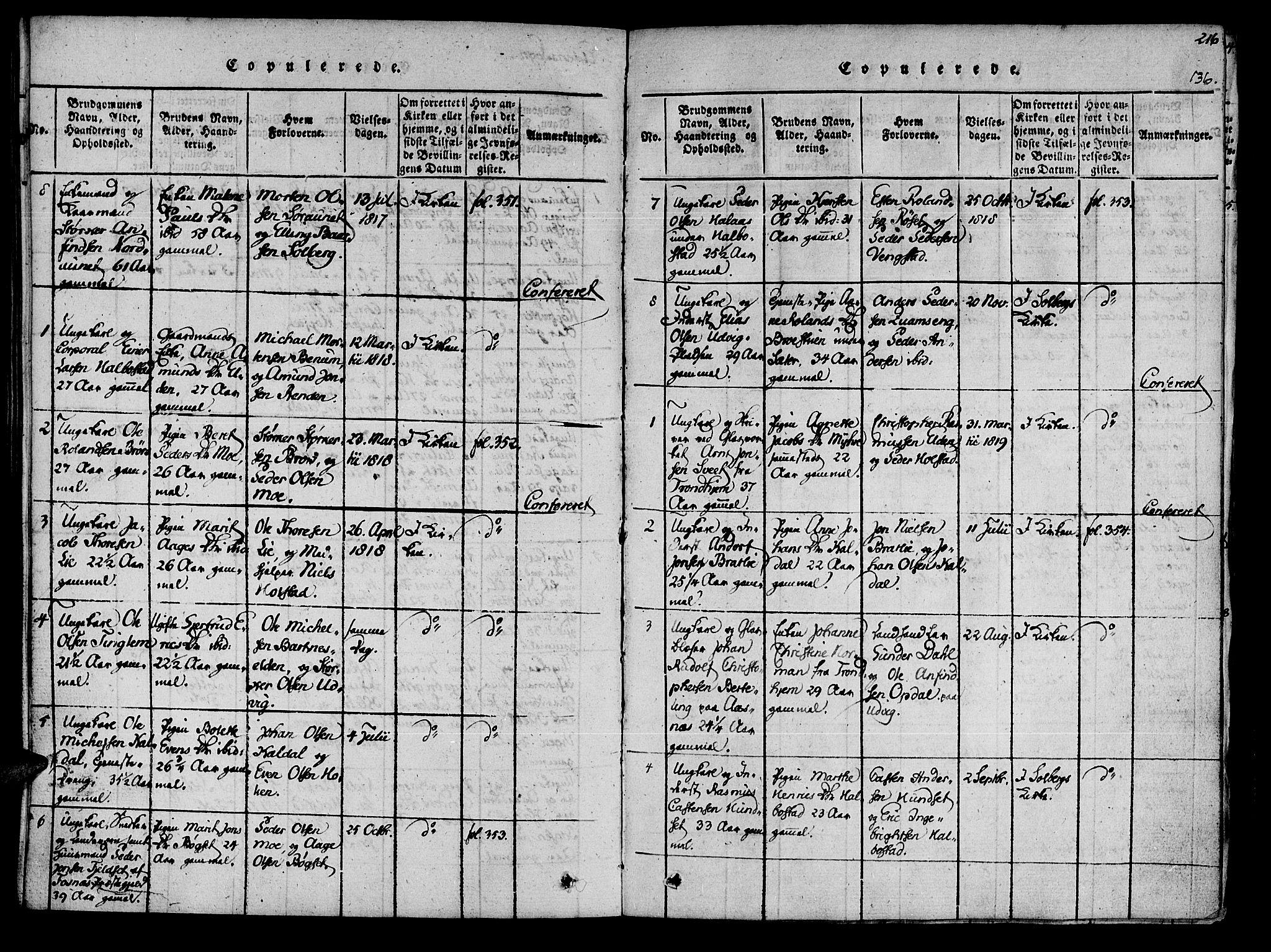 SAT, Ministerialprotokoller, klokkerbøker og fødselsregistre - Nord-Trøndelag, 741/L0387: Ministerialbok nr. 741A03 /3, 1817-1822, s. 136