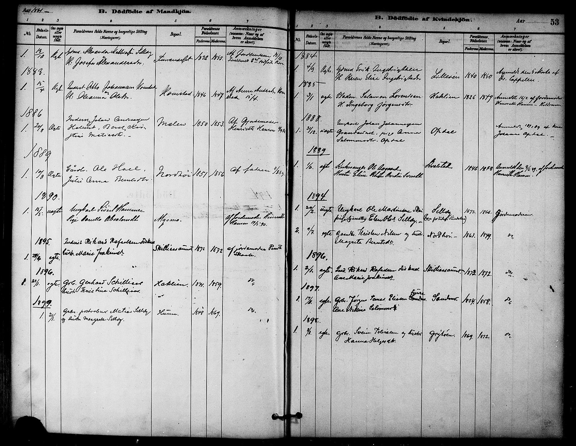 SAT, Ministerialprotokoller, klokkerbøker og fødselsregistre - Nord-Trøndelag, 766/L0563: Ministerialbok nr. 767A01, 1881-1899, s. 53