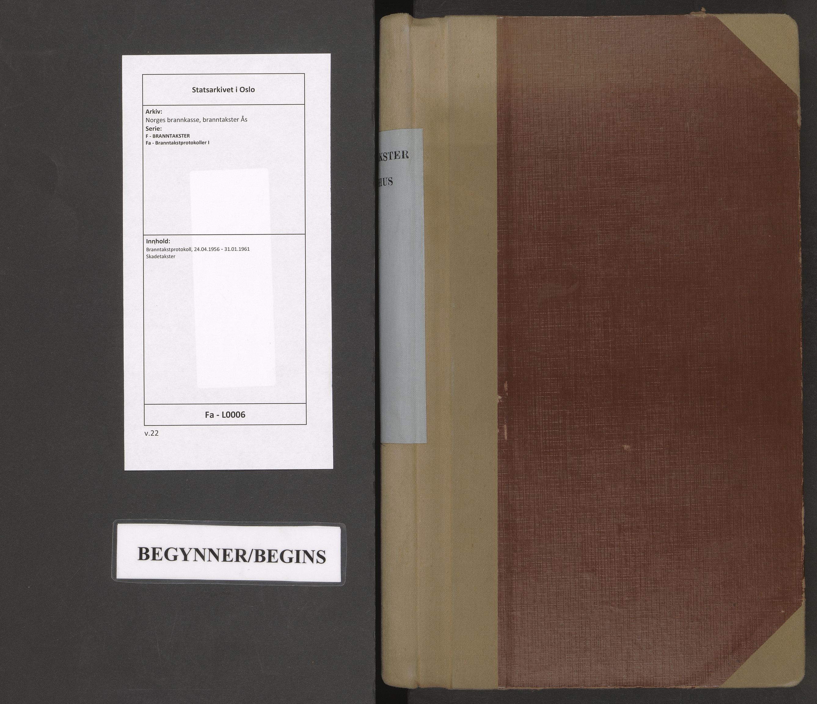 SAO, Norges brannkasse, branntakster Ås, F/Fa/L0006: Branntakstprotokoll, 1956-1961