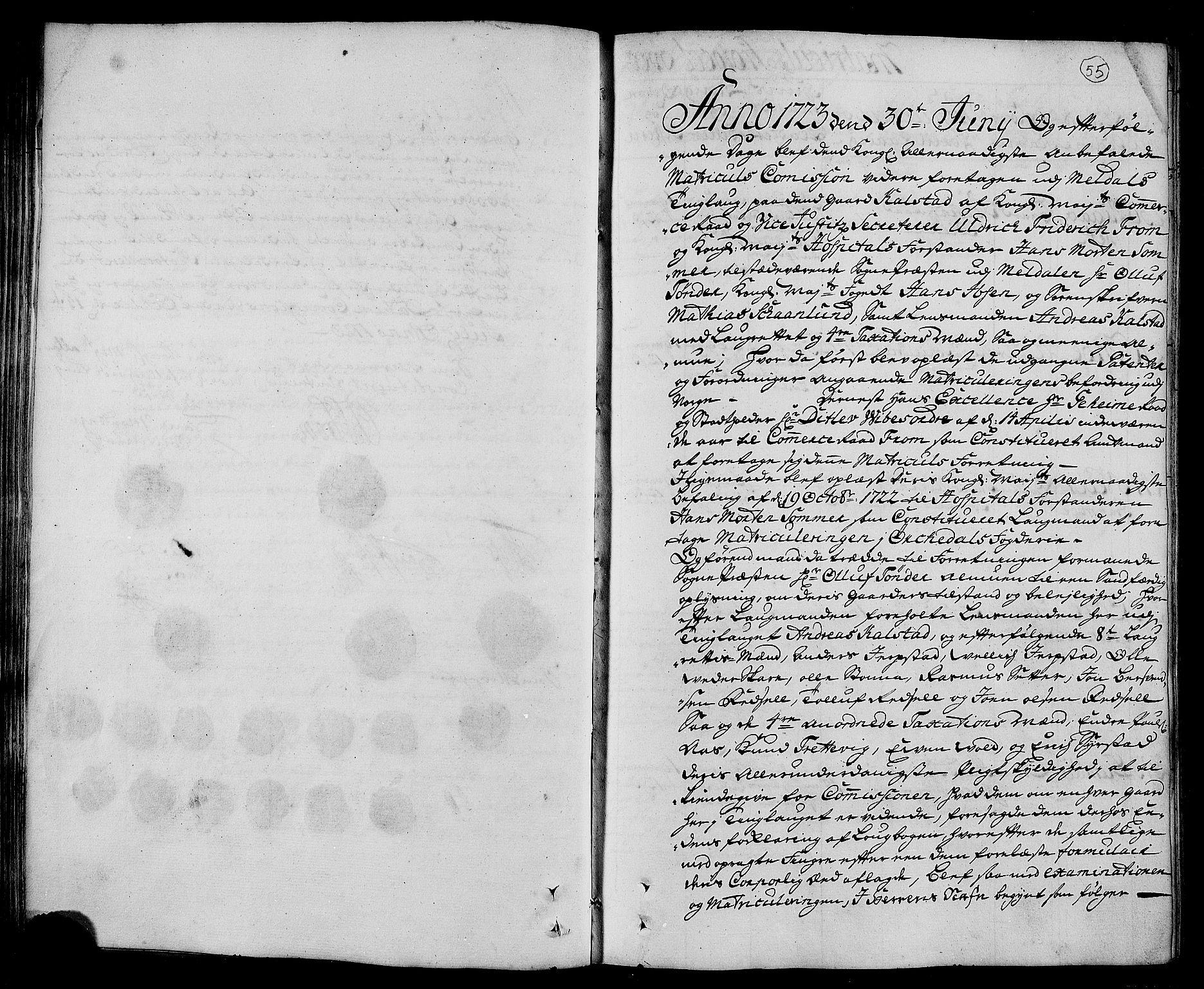 RA, Rentekammeret inntil 1814, Realistisk ordnet avdeling, N/Nb/Nbf/L0156: Orkdal eksaminasjonsprotokoll, 1723, s. 54b-55a