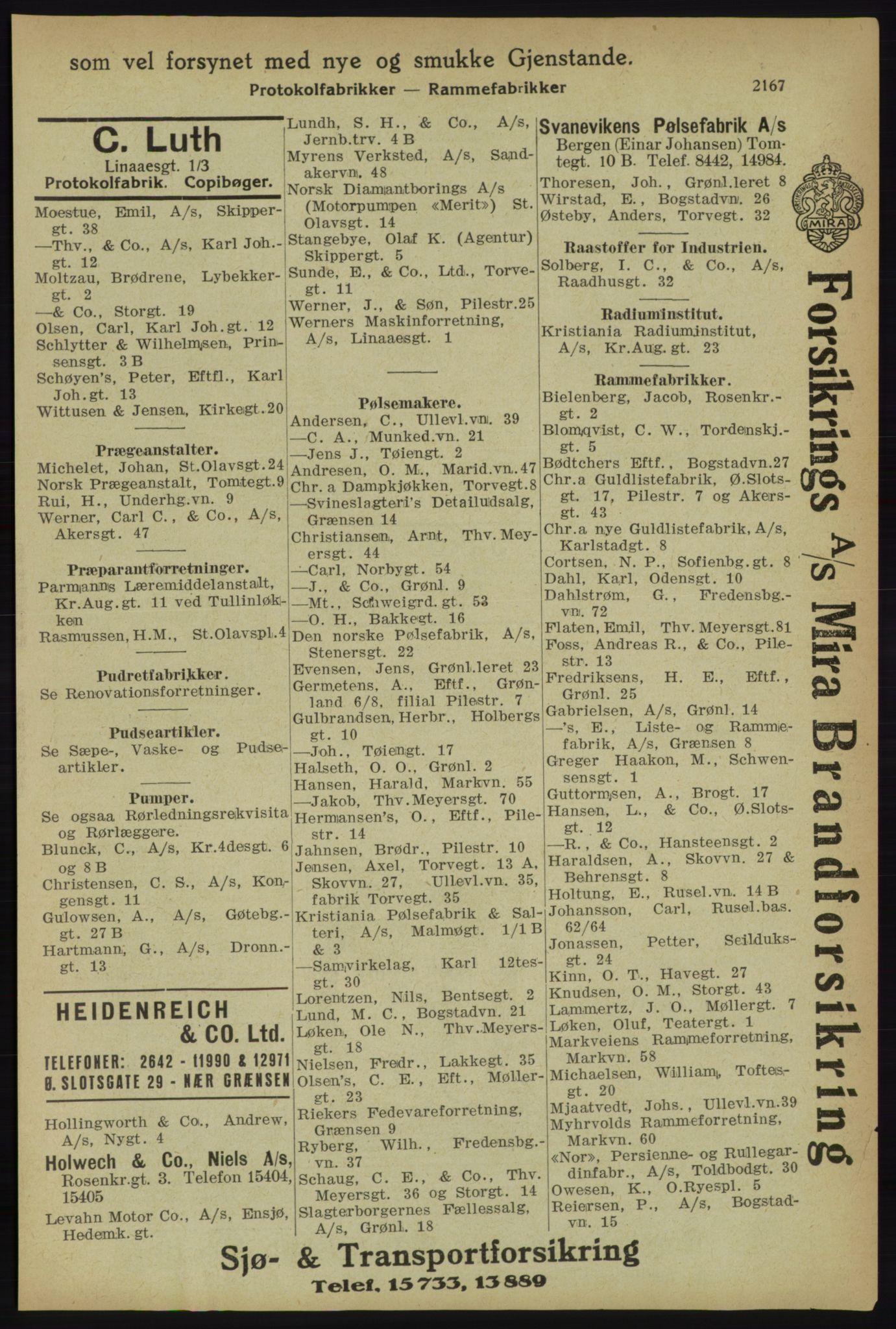 RA, Kristiania adressebok (publikasjon)*, 1918, s. 2167