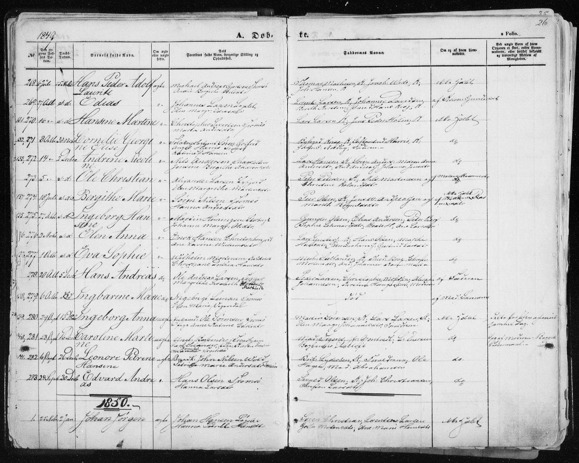 SATØ, Tromsø sokneprestkontor/stiftsprosti/domprosti, G/Ga/L0010kirke: Ministerialbok nr. 10, 1848-1855, s. 26