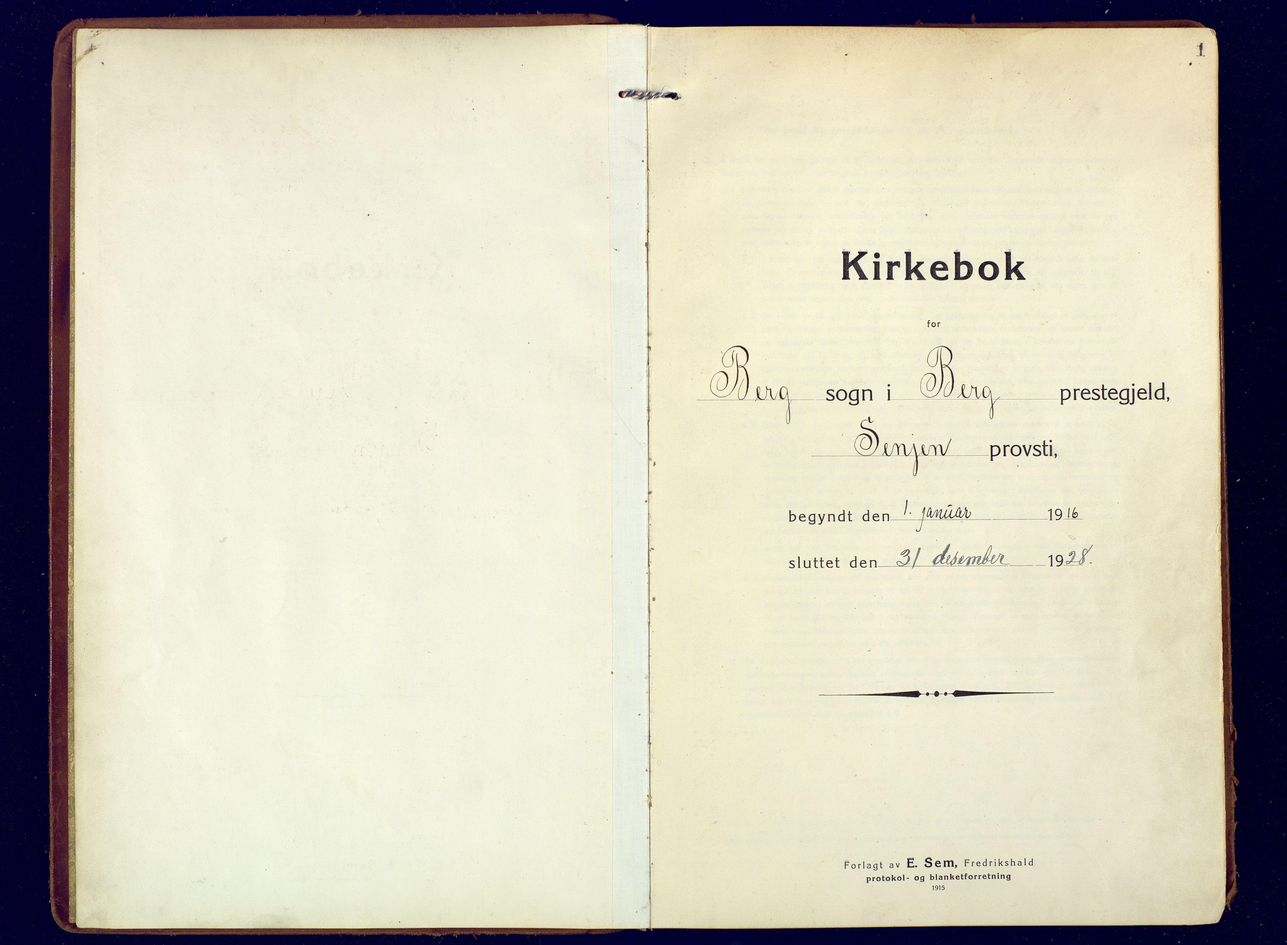SATØ, Mefjord/Berg sokneprestkontor, G/Ga/Gaa: Ministerialbok nr. 9, 1916-1928, s. 1
