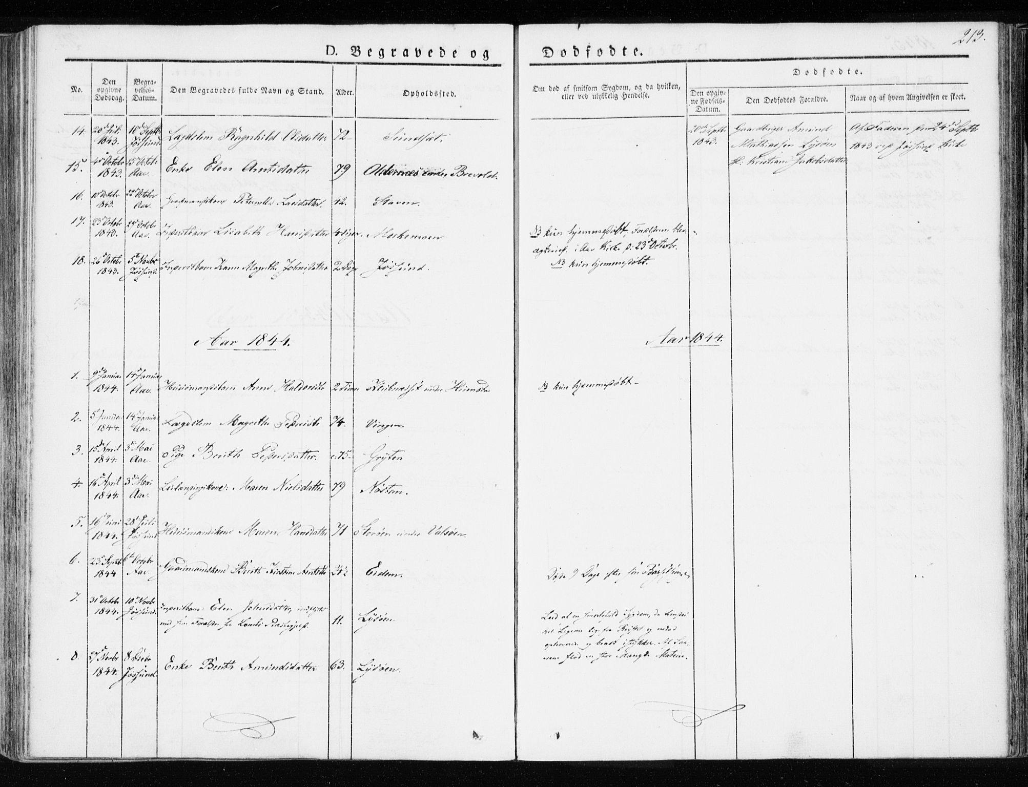 SAT, Ministerialprotokoller, klokkerbøker og fødselsregistre - Sør-Trøndelag, 655/L0676: Ministerialbok nr. 655A05, 1830-1847, s. 213