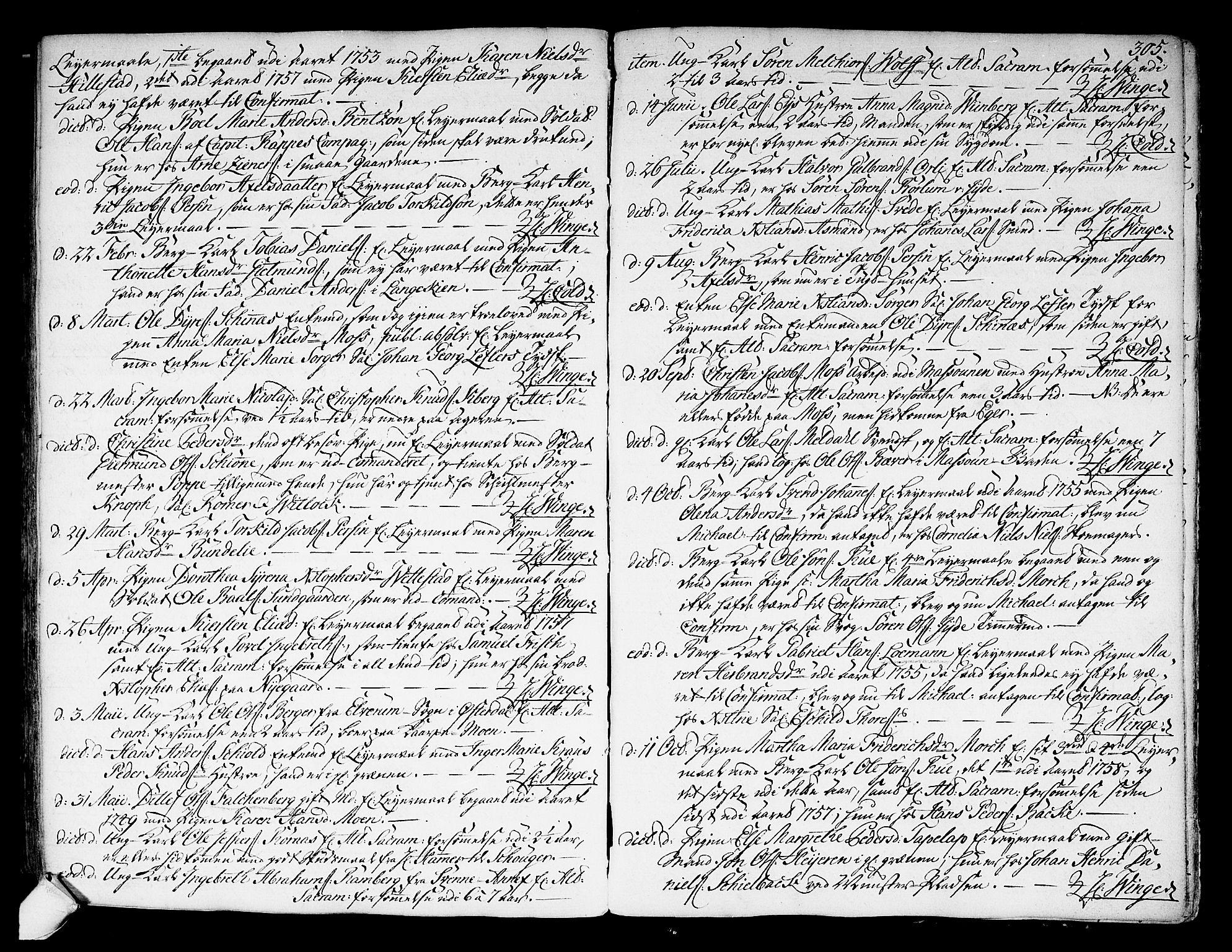 SAKO, Kongsberg kirkebøker, F/Fa/L0004: Ministerialbok nr. I 4, 1756-1768, s. 305