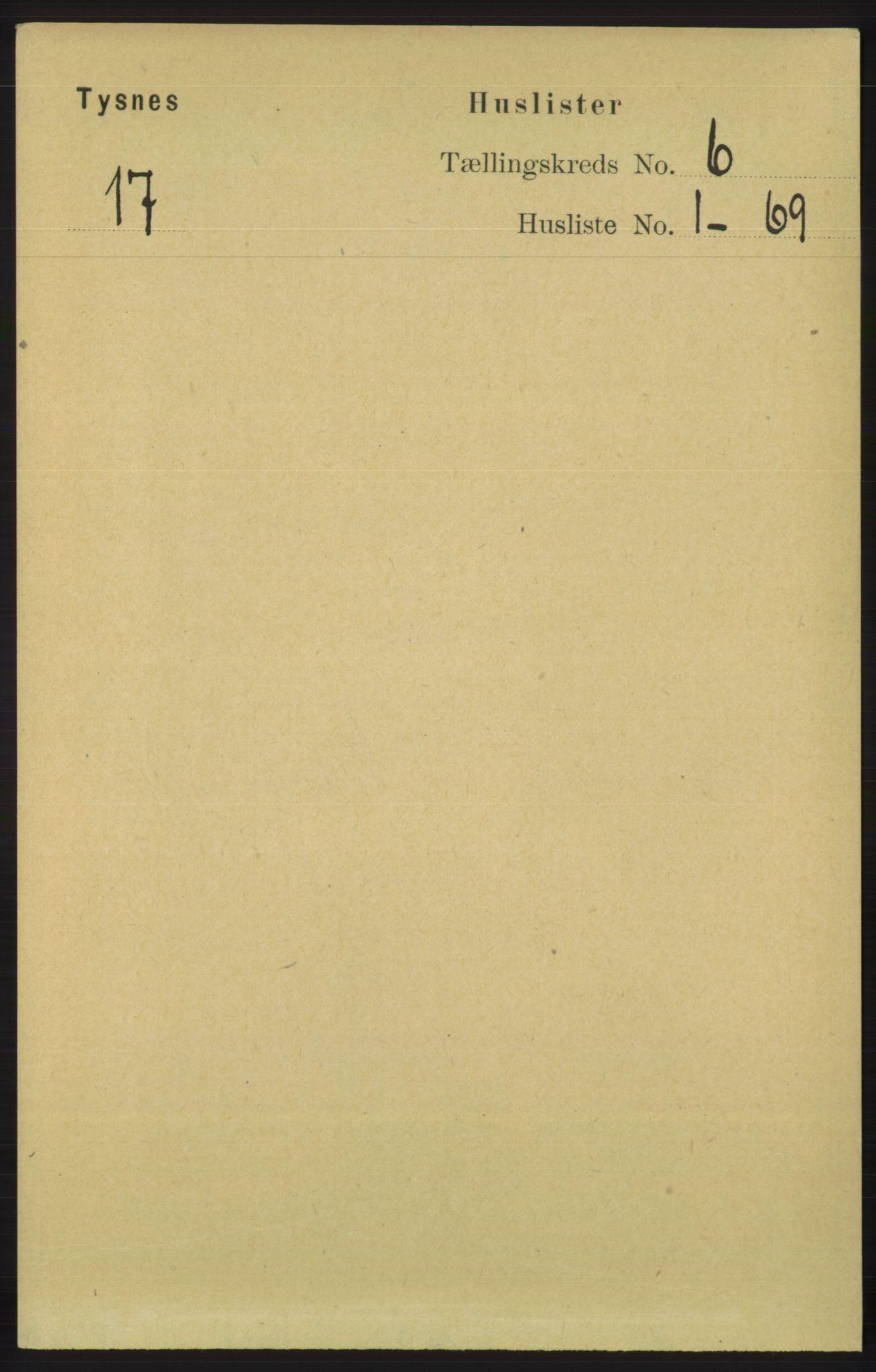 RA, Folketelling 1891 for 1223 Tysnes herred, 1891, s. 2299
