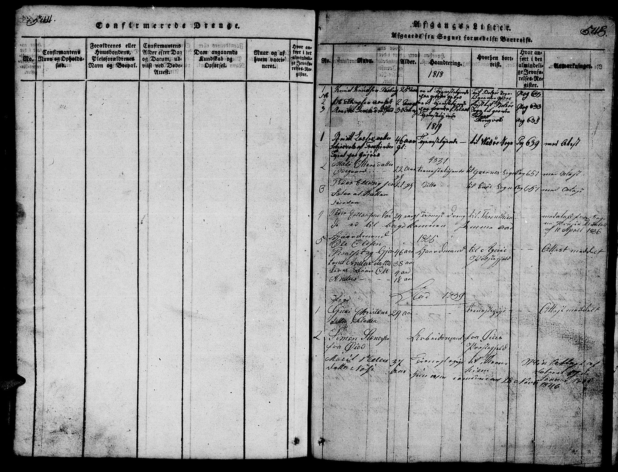 SAT, Ministerialprotokoller, klokkerbøker og fødselsregistre - Møre og Romsdal, 557/L0683: Klokkerbok nr. 557C01, 1818-1862, s. 544-545