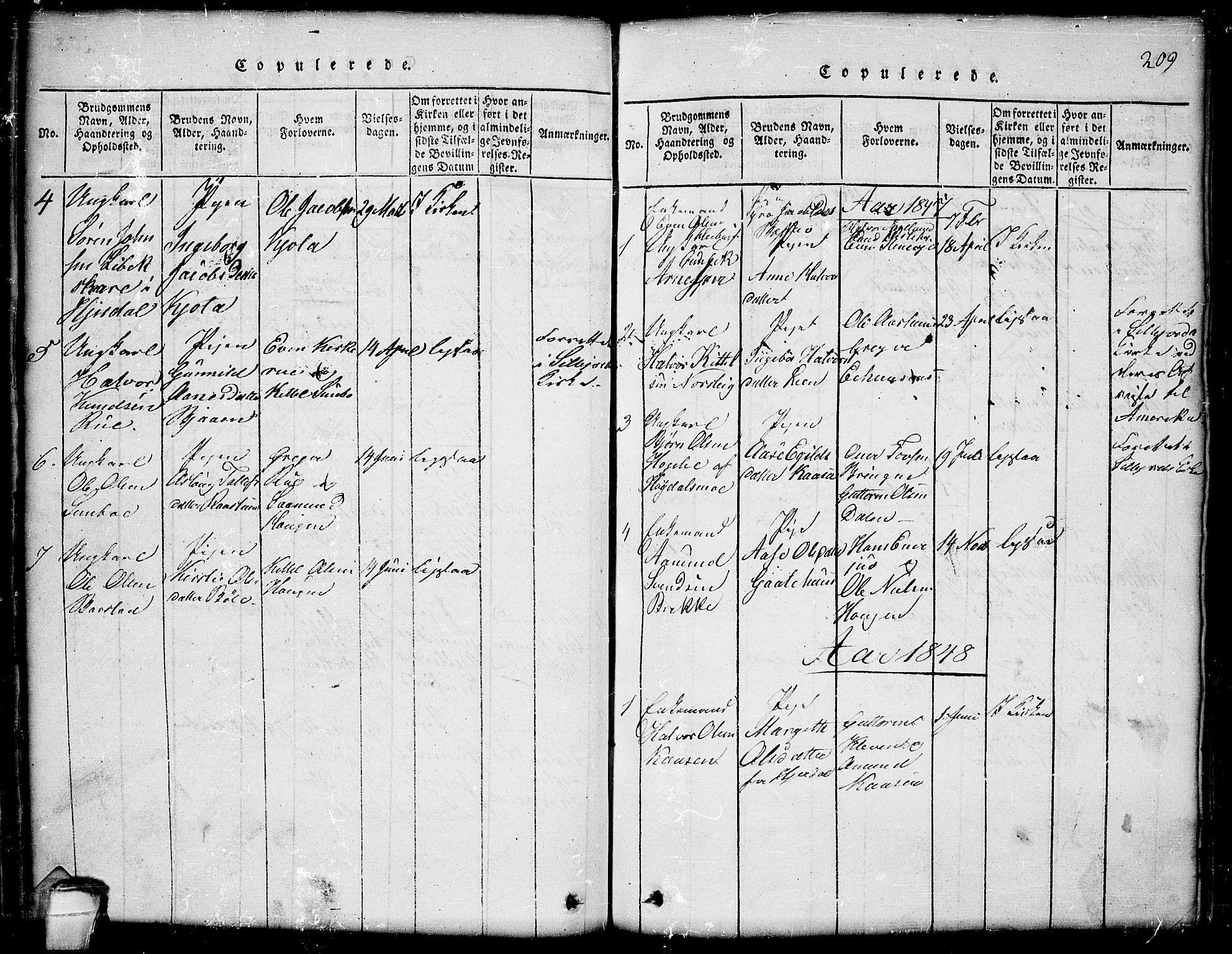 SAKO, Seljord kirkebøker, G/Gb/L0002: Klokkerbok nr. II 2, 1815-1854, s. 209