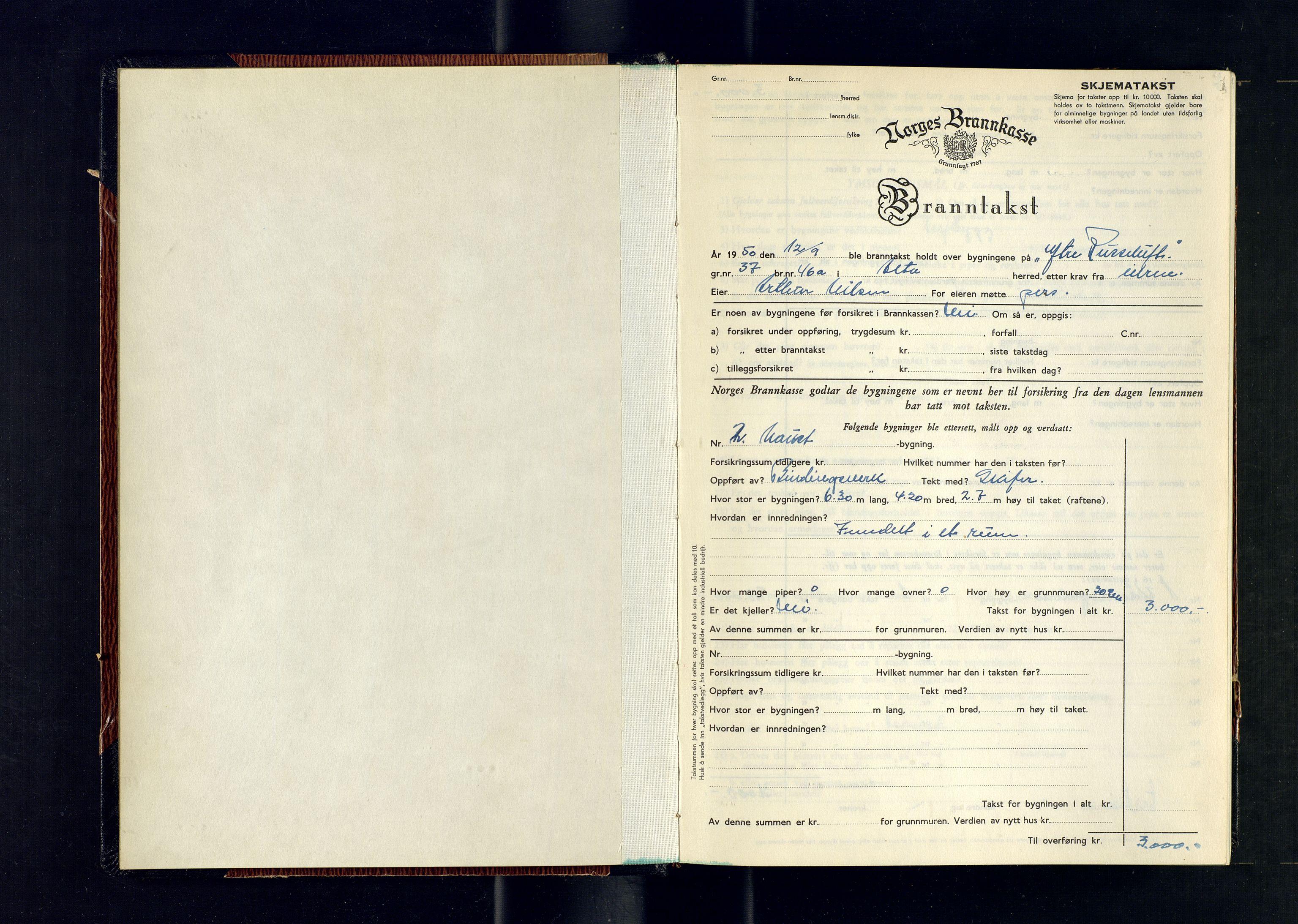 SATØ, Lensmannen i Alta, O/Ob/L0184: Branntakstprotokoll, 1950-1953, s. 1