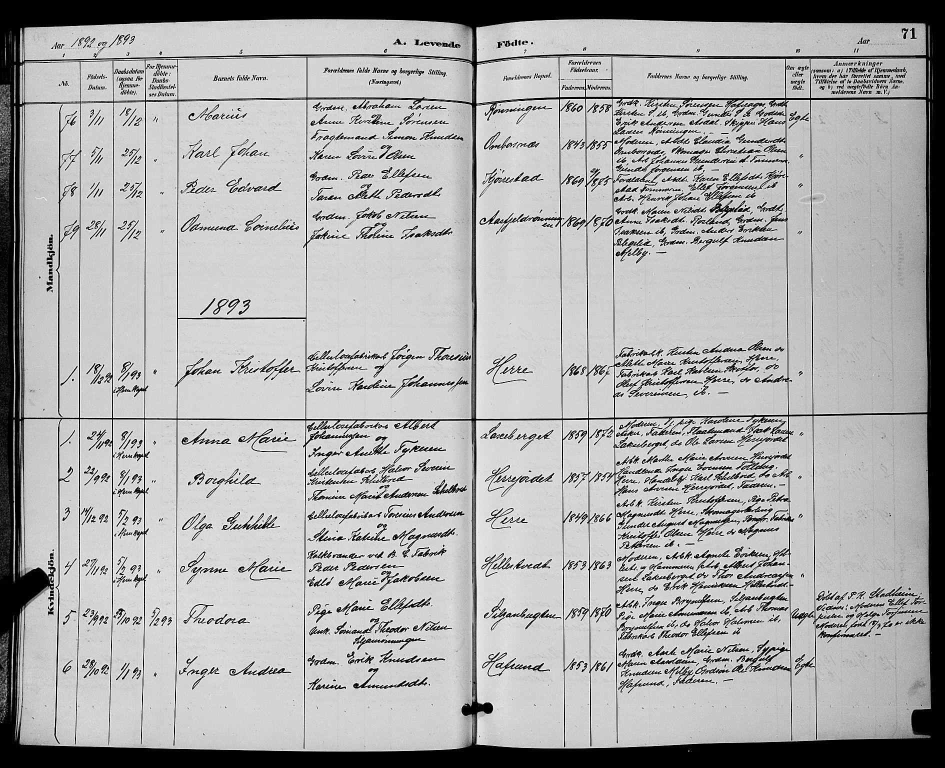SAKO, Bamble kirkebøker, G/Ga/L0009: Klokkerbok nr. I 9, 1888-1900, s. 71