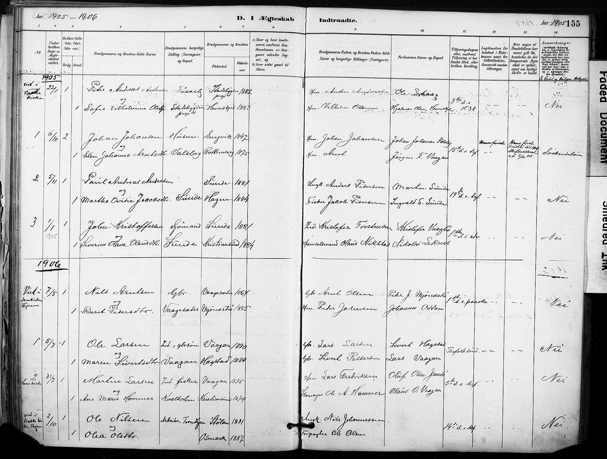 SAT, Ministerialprotokoller, klokkerbøker og fødselsregistre - Sør-Trøndelag, 633/L0518: Ministerialbok nr. 633A01, 1884-1906, s. 155