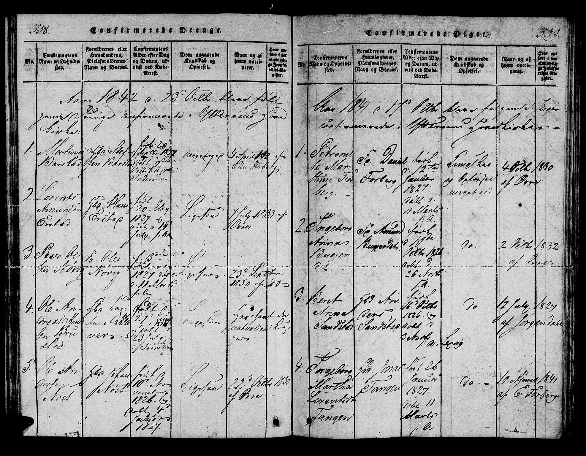 SAT, Ministerialprotokoller, klokkerbøker og fødselsregistre - Nord-Trøndelag, 722/L0217: Ministerialbok nr. 722A04, 1817-1842, s. 538-539