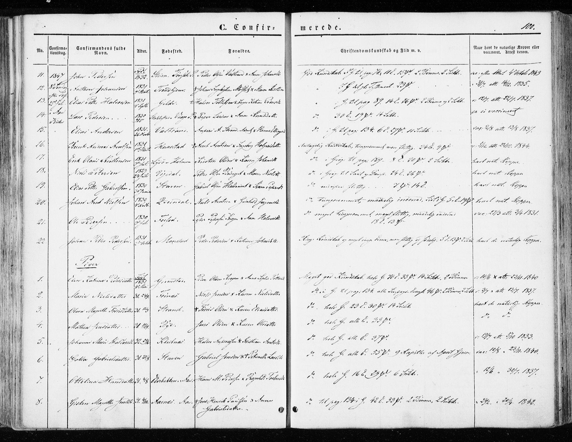 SAT, Ministerialprotokoller, klokkerbøker og fødselsregistre - Sør-Trøndelag, 655/L0677: Ministerialbok nr. 655A06, 1847-1860, s. 100