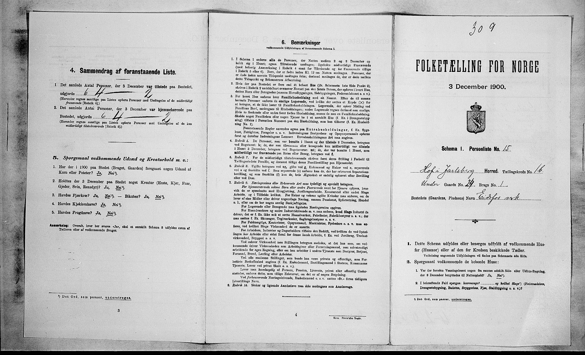 RA, Folketelling 1900 for 0714 Hof herred, 1900, s. 156