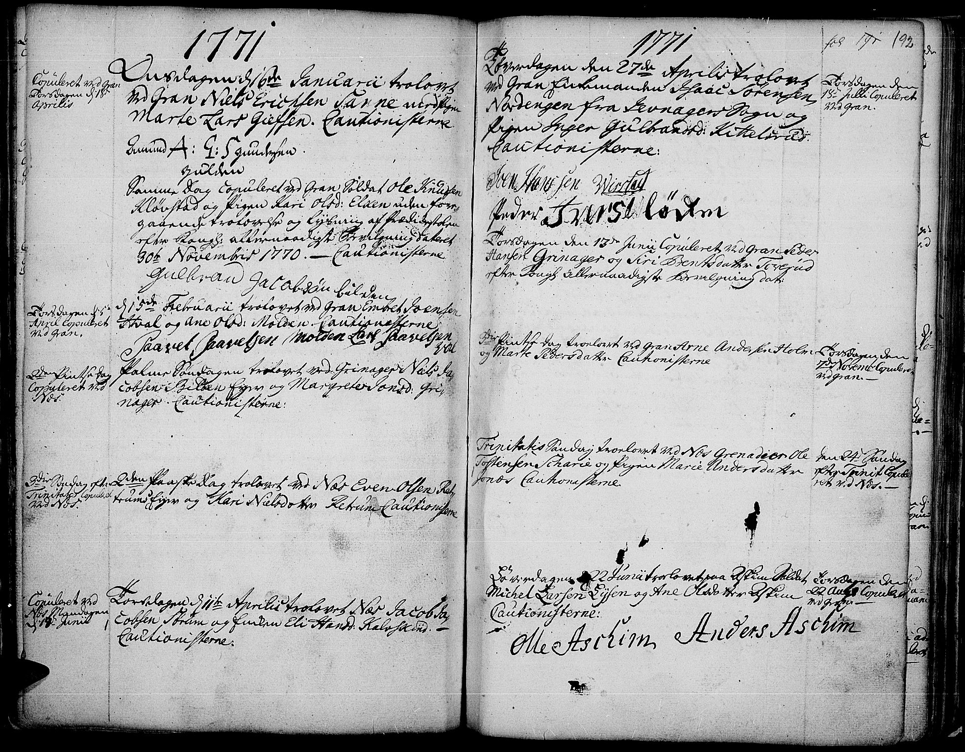 SAH, Gran prestekontor, Ministerialbok nr. 4, 1759-1775, s. 192