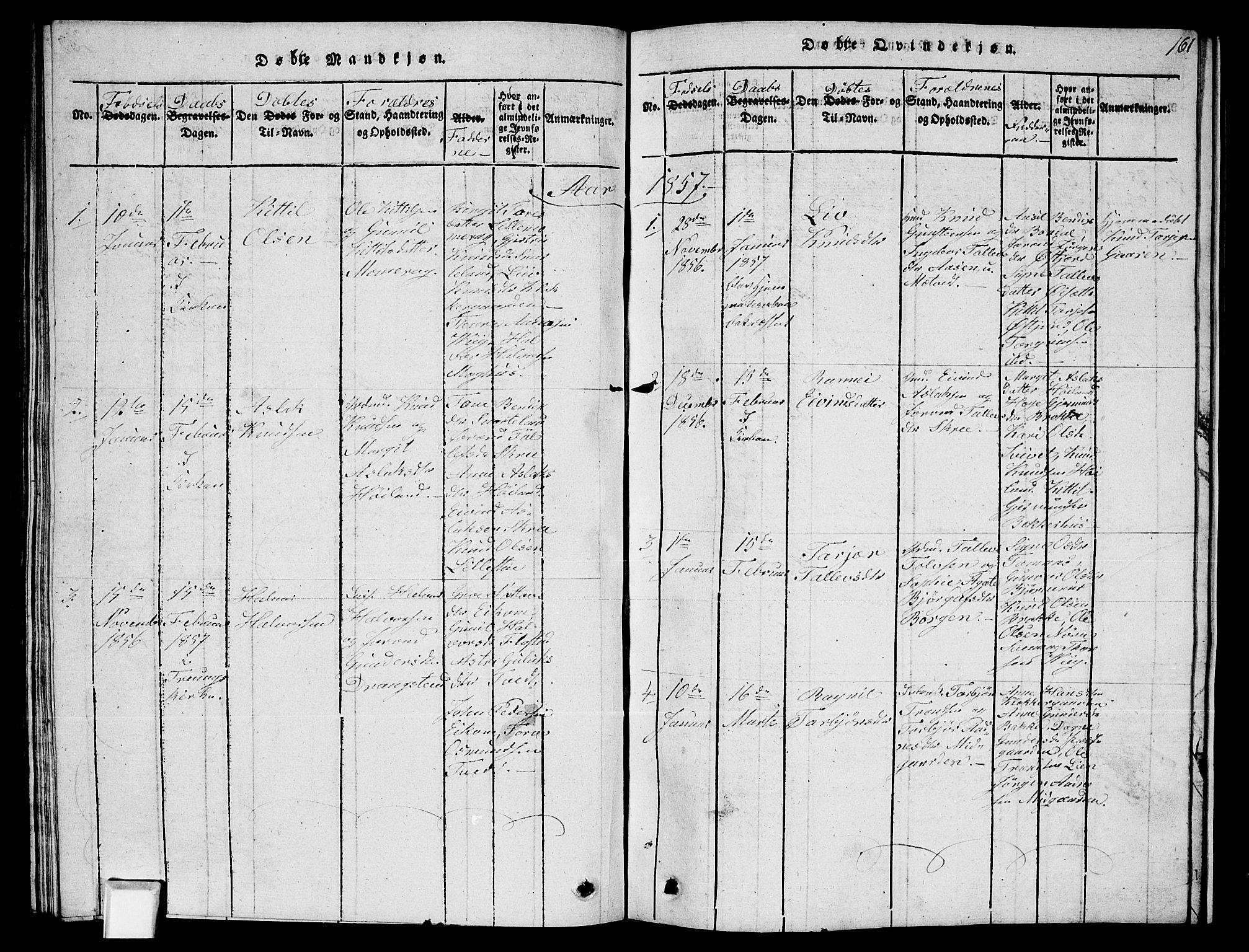 SAKO, Fyresdal kirkebøker, G/Ga/L0002: Klokkerbok nr. I 2, 1815-1857, s. 161