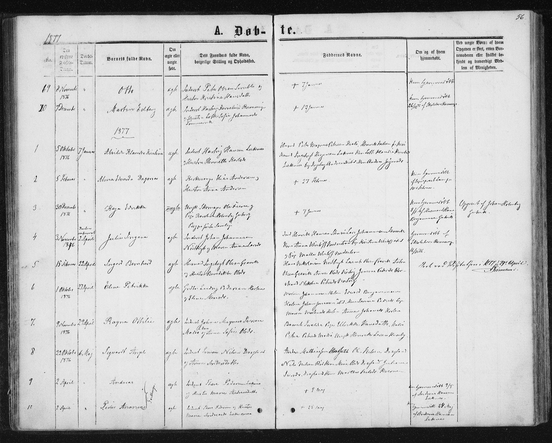 SAT, Ministerialprotokoller, klokkerbøker og fødselsregistre - Nord-Trøndelag, 788/L0696: Ministerialbok nr. 788A03, 1863-1877, s. 56