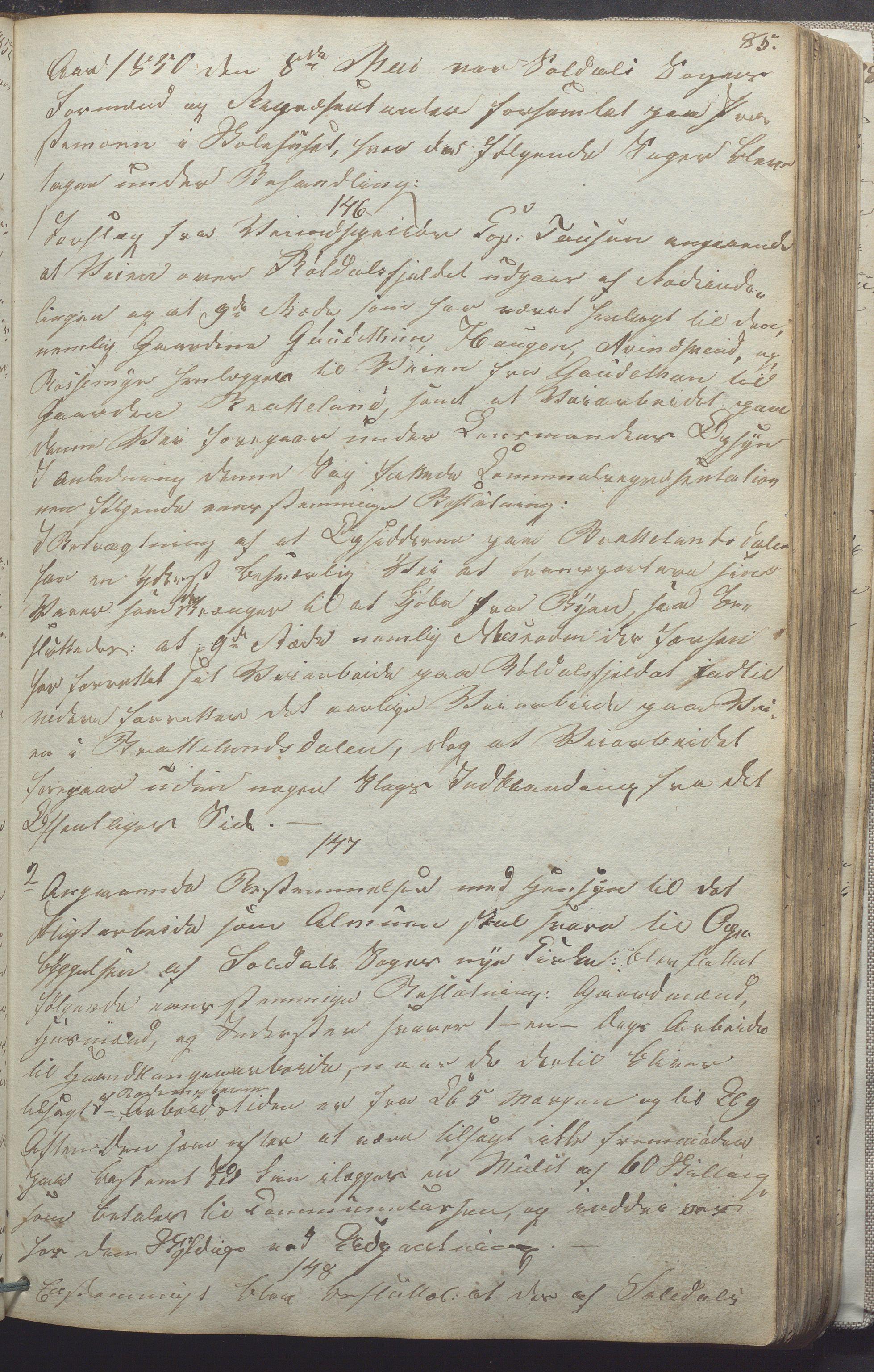 IKAR, Suldal kommune - Formannskapet/Rådmannen, A/Aa/L0001: Møtebok, 1837-1876, s. 85a