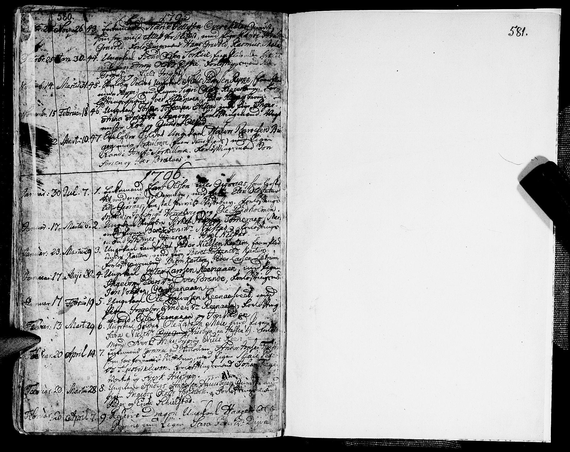 SAT, Ministerialprotokoller, klokkerbøker og fødselsregistre - Nord-Trøndelag, 709/L0059: Ministerialbok nr. 709A06, 1781-1797, s. 580-581