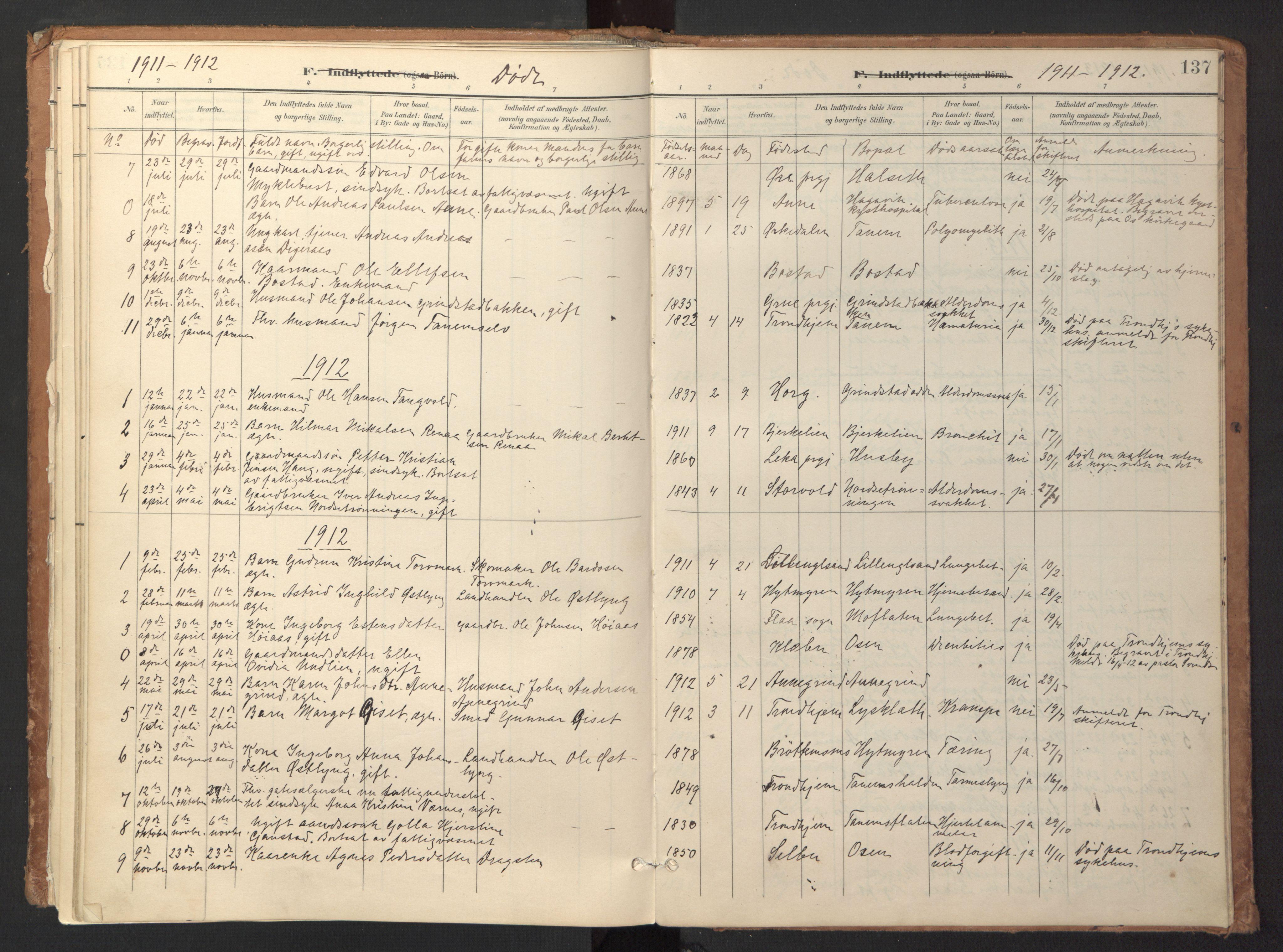 SAT, Ministerialprotokoller, klokkerbøker og fødselsregistre - Sør-Trøndelag, 618/L0448: Ministerialbok nr. 618A11, 1898-1916, s. 137