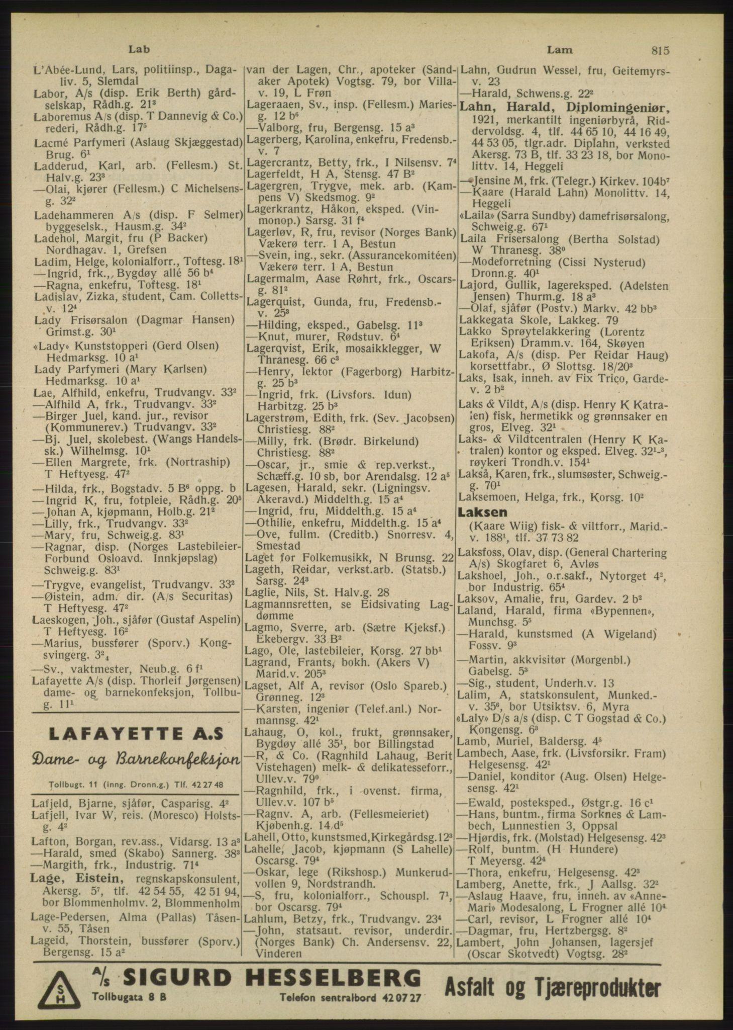 PUBL, Kristiania/Oslo adressebok, 1948, s. 815