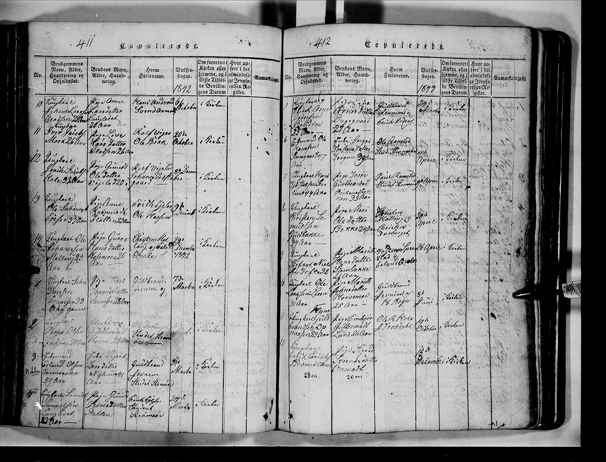 SAH, Lom prestekontor, L/L0003: Klokkerbok nr. 3, 1815-1844, s. 411-412