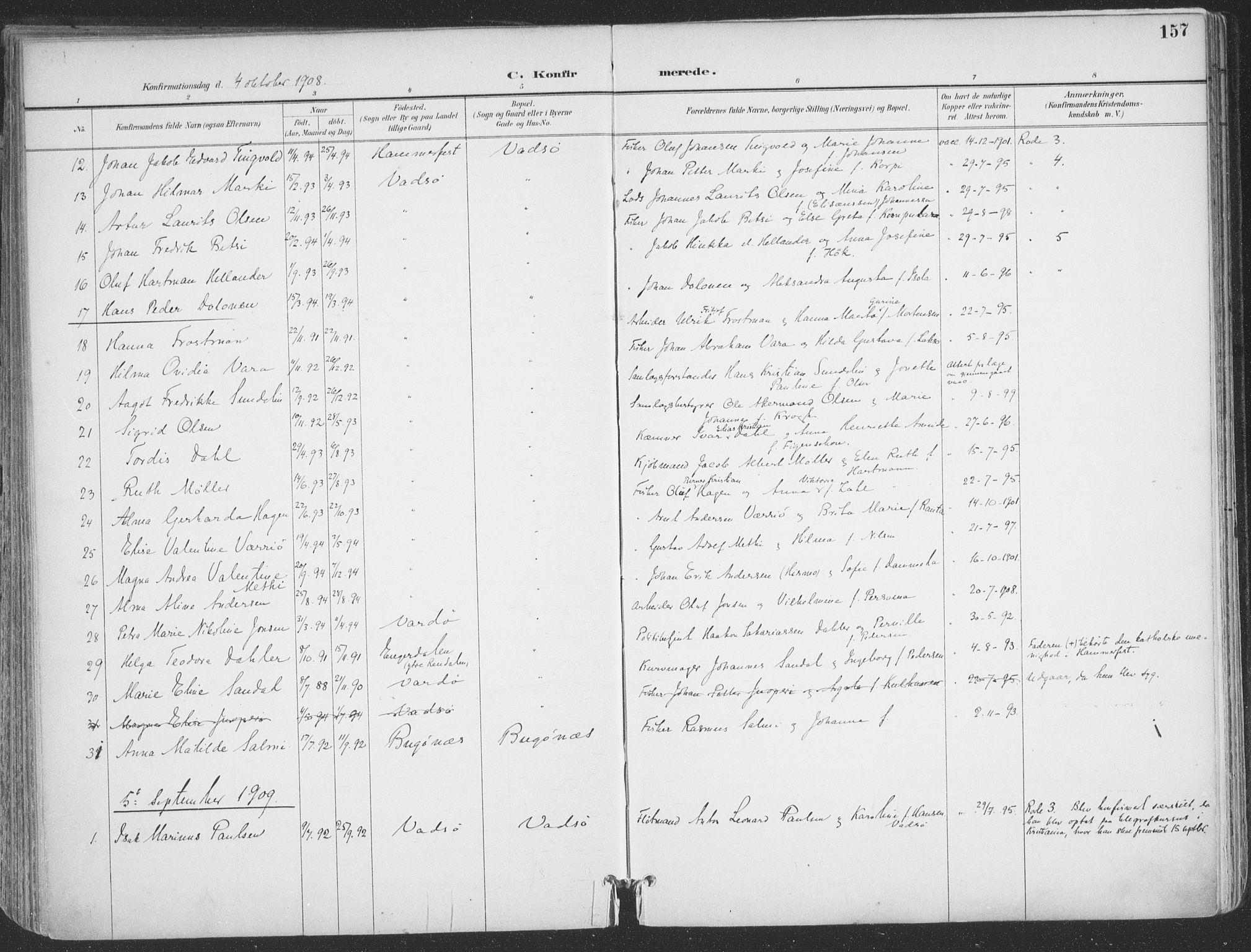 SATØ, Vadsø sokneprestkontor, H/Ha/L0007kirke: Ministerialbok nr. 7, 1896-1916, s. 157