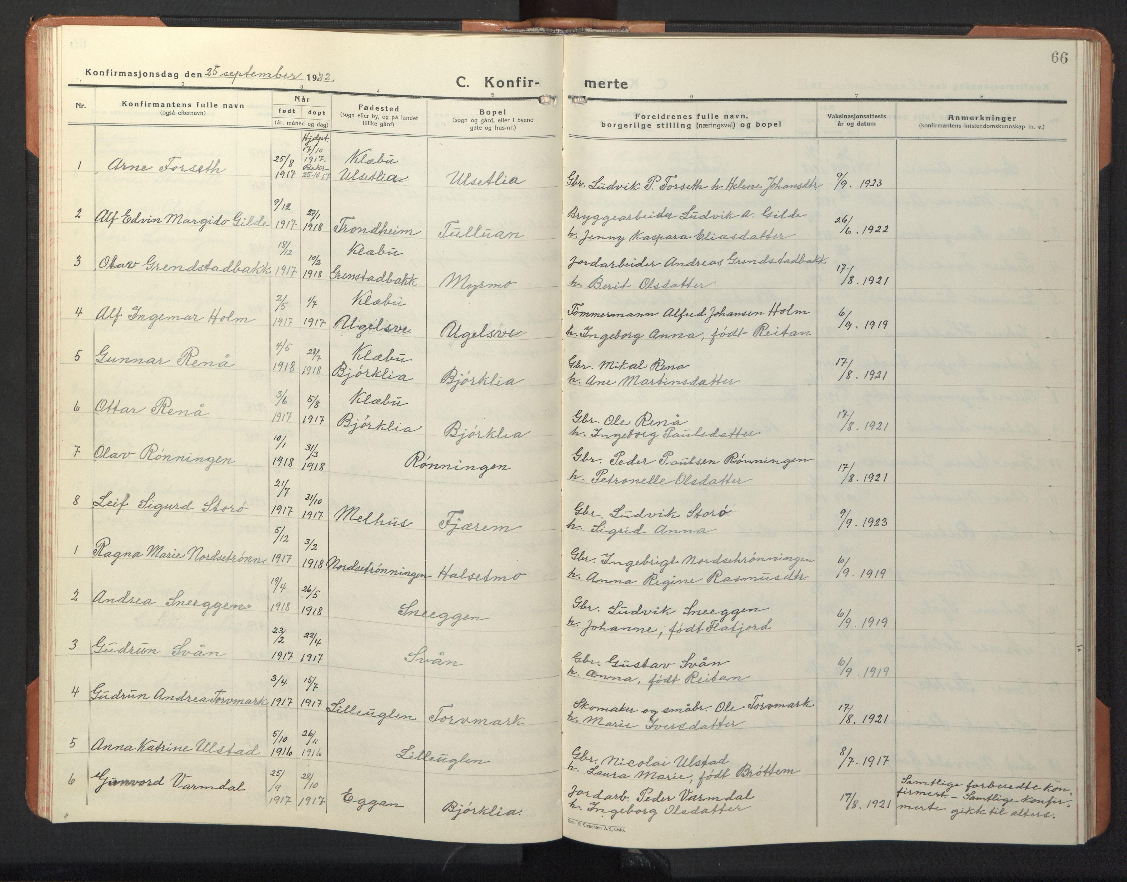 SAT, Ministerialprotokoller, klokkerbøker og fødselsregistre - Sør-Trøndelag, 618/L0454: Klokkerbok nr. 618C05, 1926-1946, s. 66