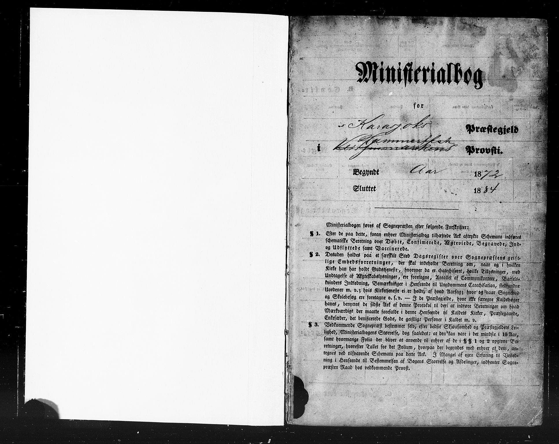 SATØ, Karasjok sokneprestkontor, H/Ha/L0001kirke: Ministerialbok nr. 1, 1872-1884
