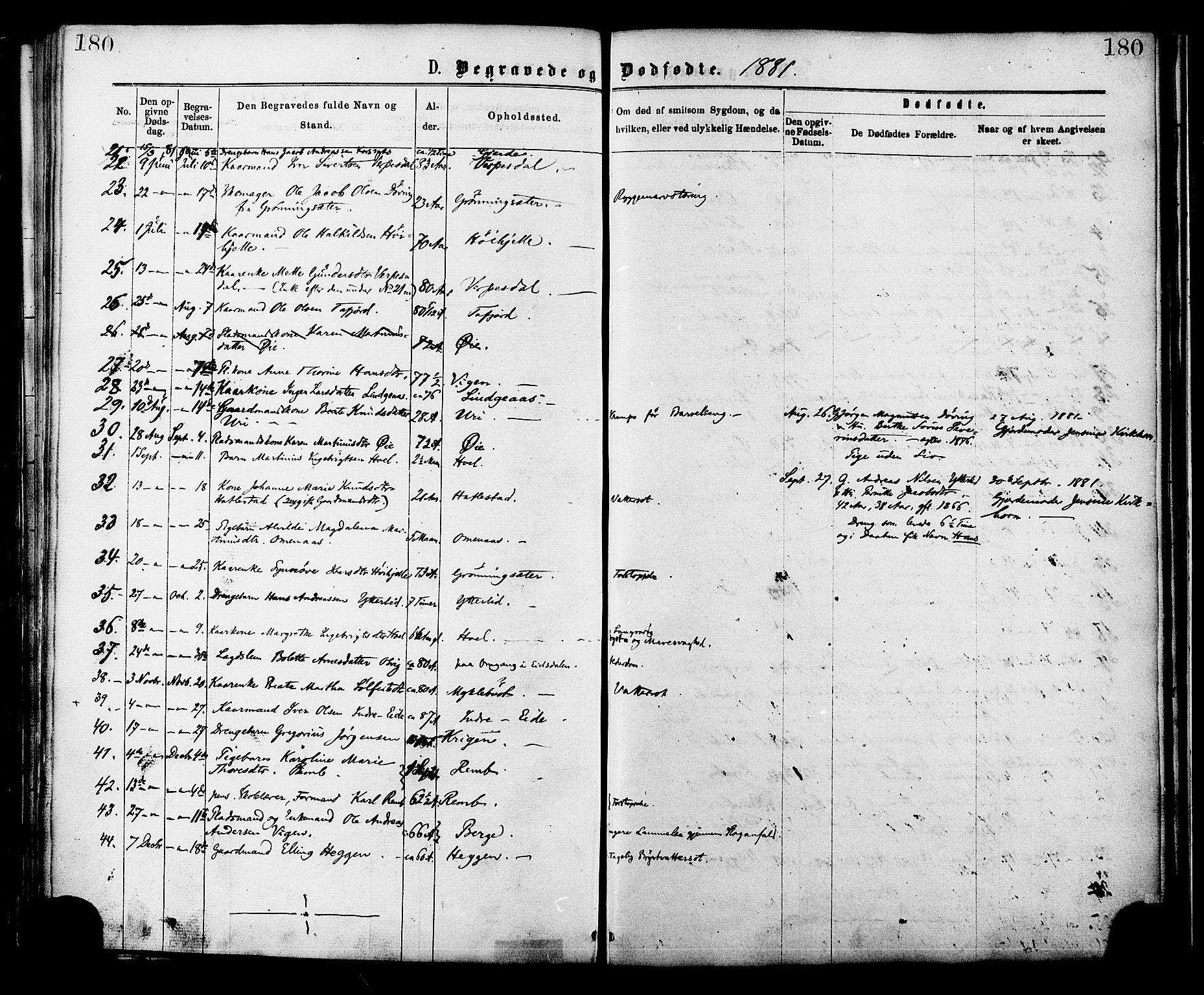 SAT, Ministerialprotokoller, klokkerbøker og fødselsregistre - Møre og Romsdal, 519/L0254: Ministerialbok nr. 519A13, 1868-1883, s. 180