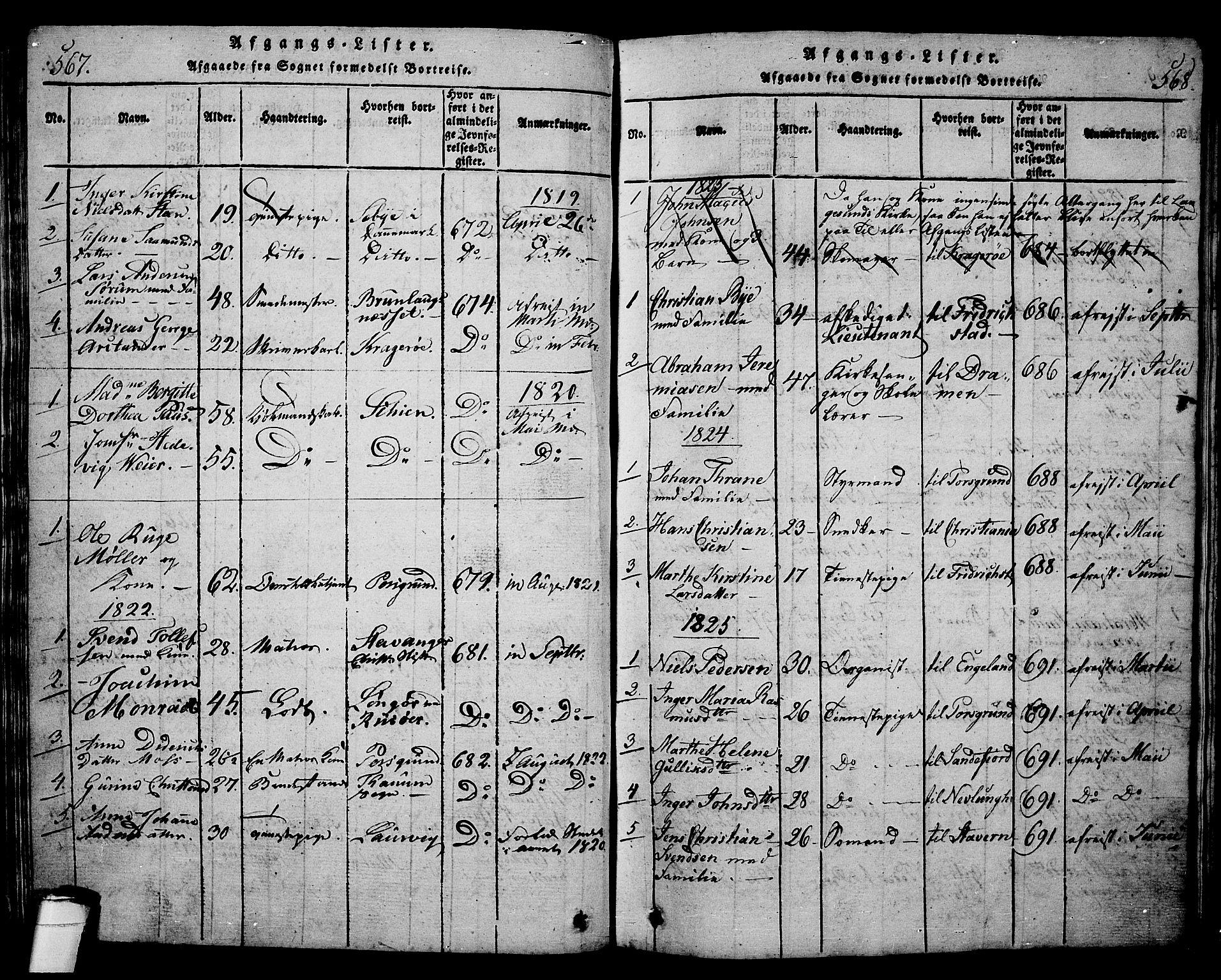 SAKO, Langesund kirkebøker, G/Ga/L0003: Klokkerbok nr. 3, 1815-1858, s. 567-568