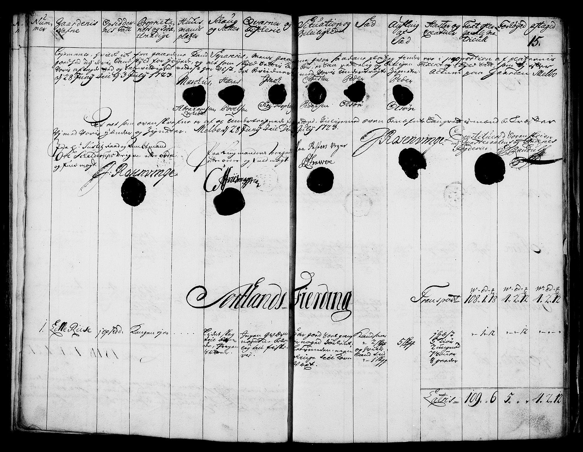 RA, Rentekammeret inntil 1814, Realistisk ordnet avdeling, N/Nb/Nbf/L0176: Vesterålen og Andenes eksaminasjonsprotokoll, 1723, s. 14b-15a