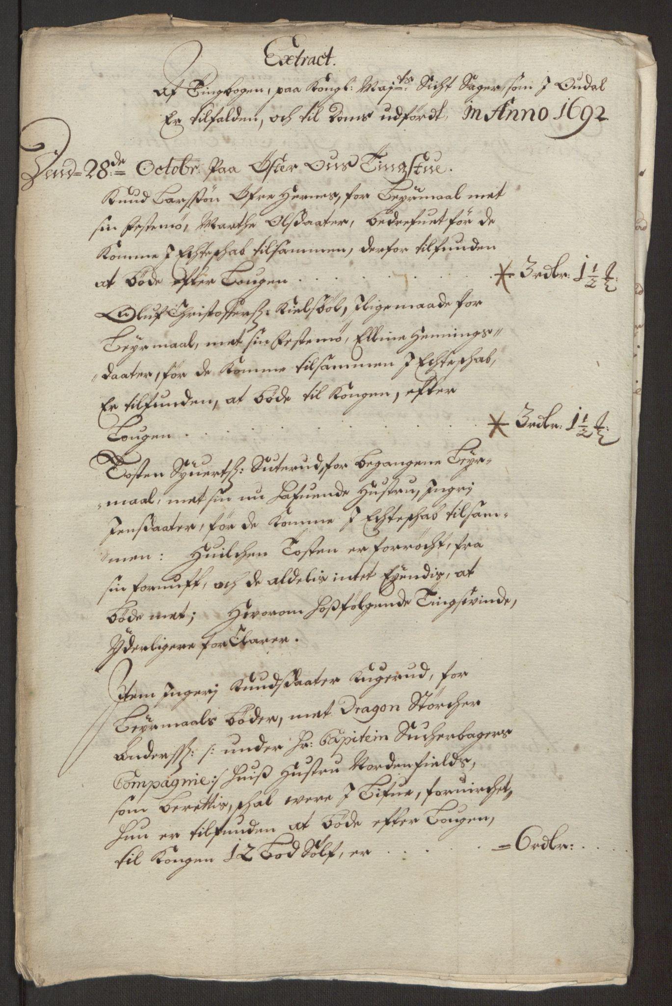 RA, Rentekammeret inntil 1814, Reviderte regnskaper, Fogderegnskap, R13/L0830: Fogderegnskap Solør, Odal og Østerdal, 1692, s. 178