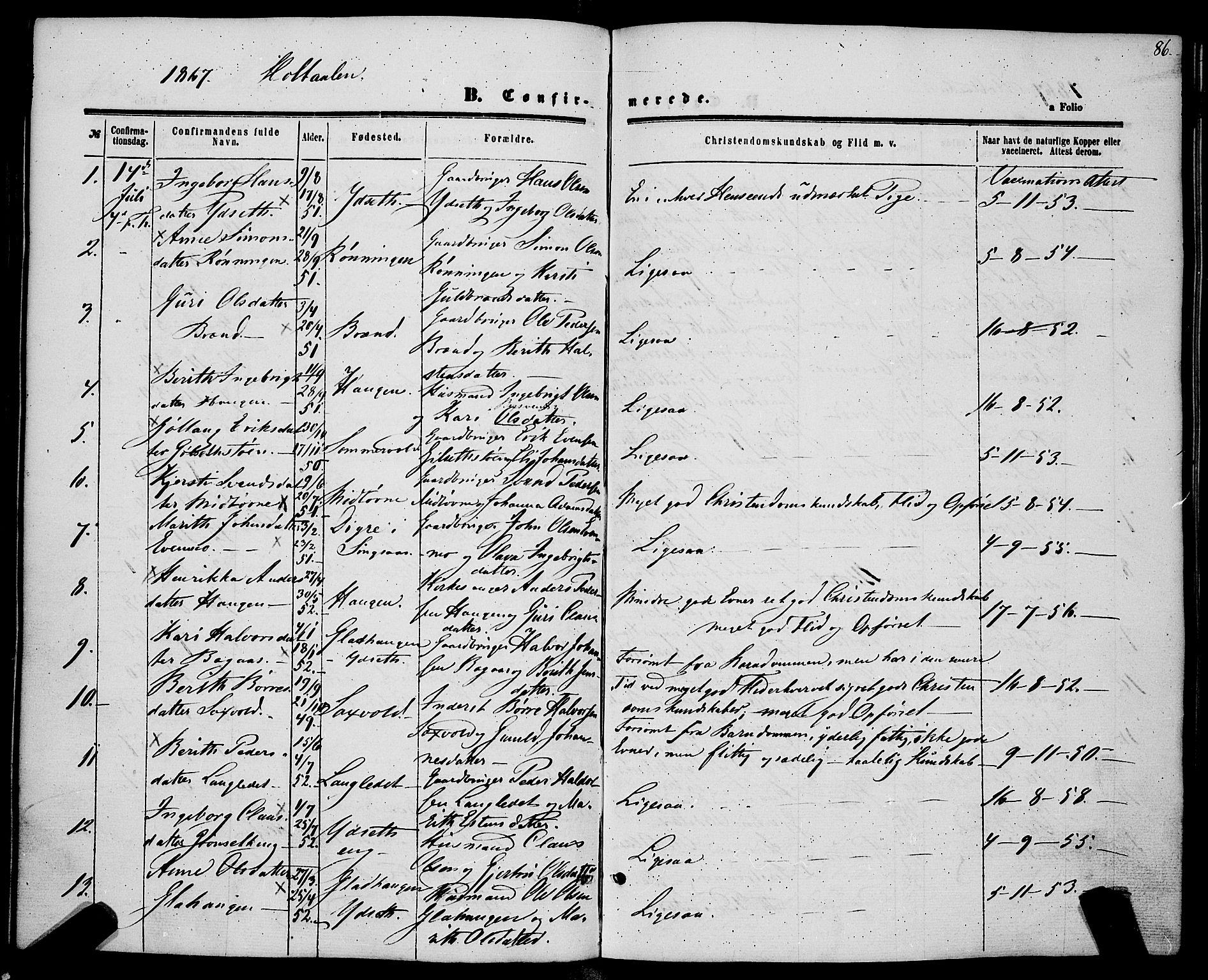 SAT, Ministerialprotokoller, klokkerbøker og fødselsregistre - Sør-Trøndelag, 685/L0966: Ministerialbok nr. 685A07 /1, 1860-1869, s. 86
