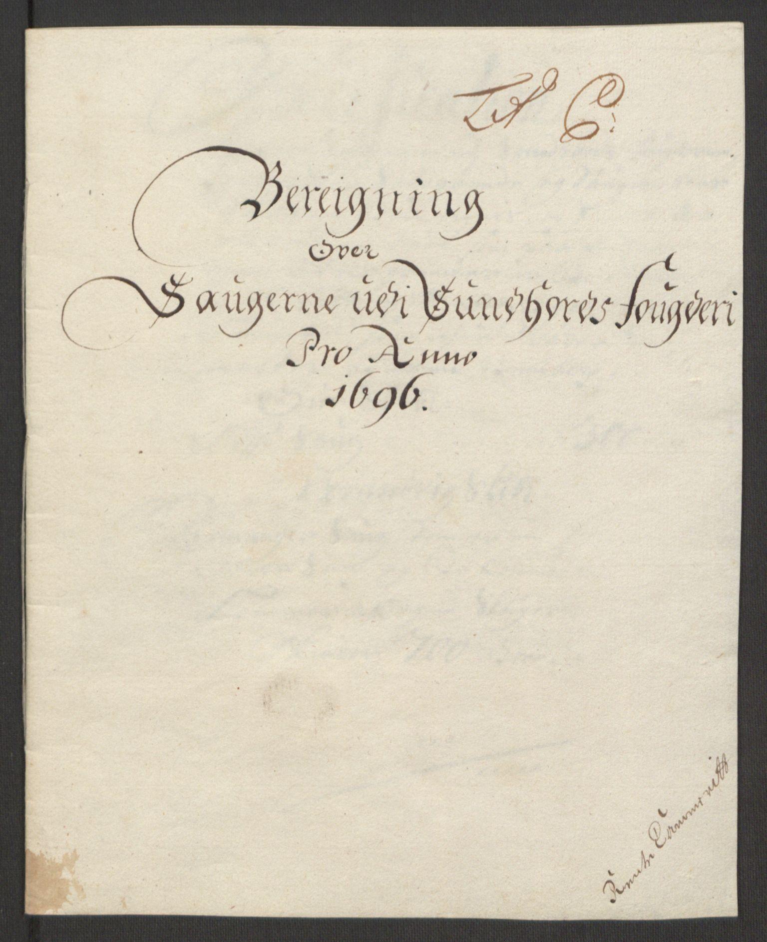 RA, Rentekammeret inntil 1814, Reviderte regnskaper, Fogderegnskap, R48/L2976: Fogderegnskap Sunnhordland og Hardanger, 1695-1696, s. 359