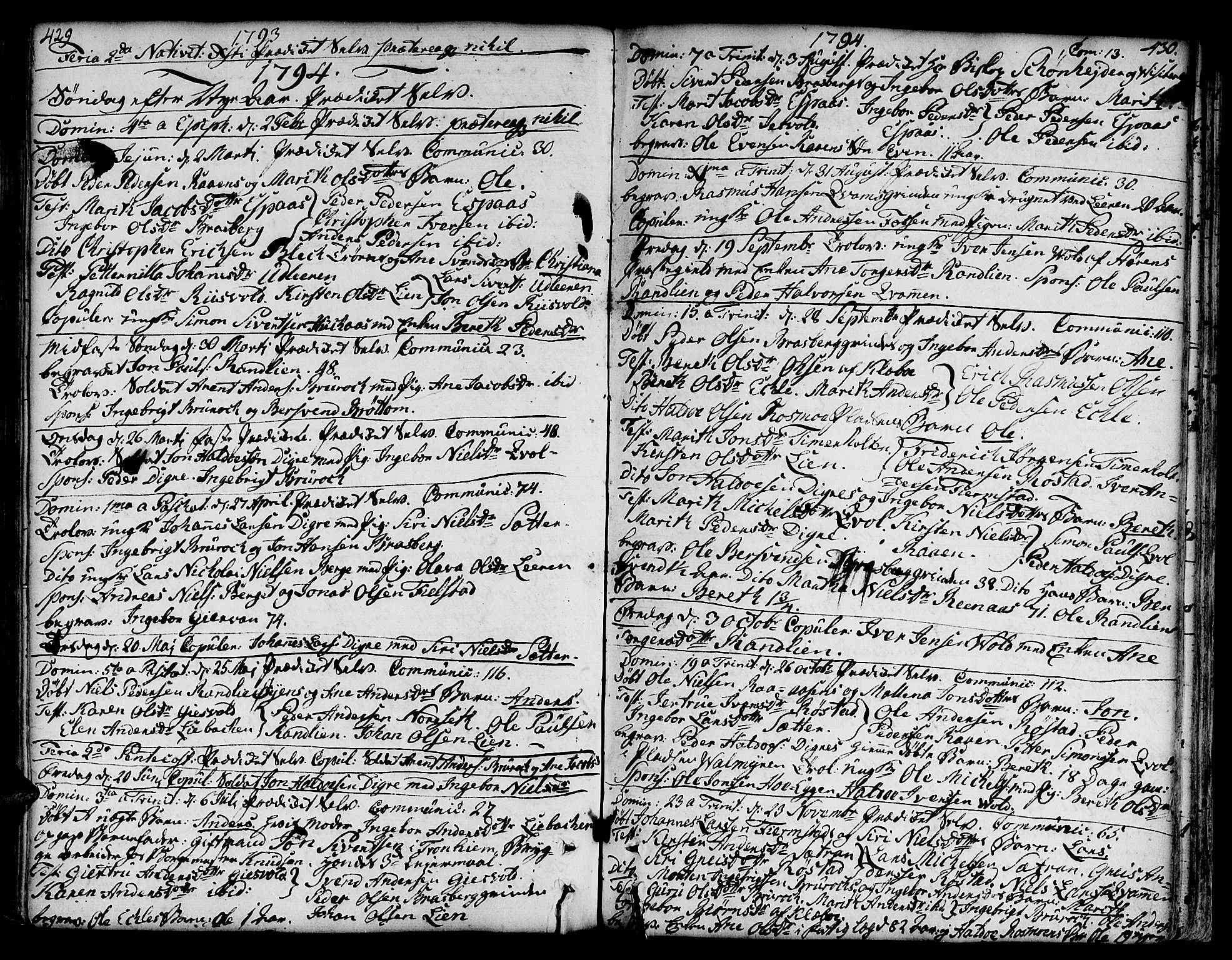SAT, Ministerialprotokoller, klokkerbøker og fødselsregistre - Sør-Trøndelag, 606/L0282: Ministerialbok nr. 606A02 /3, 1781-1817, s. 429-430
