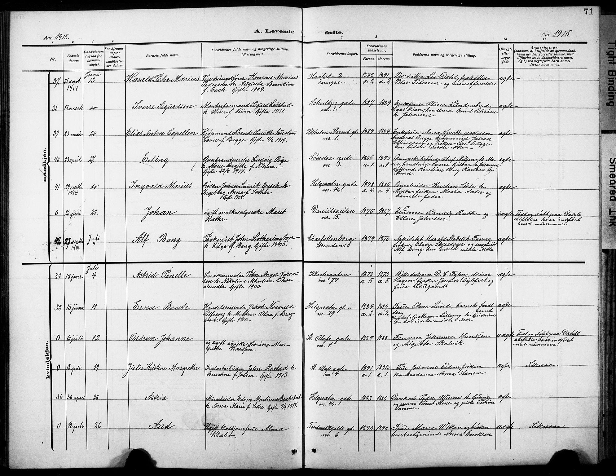SAT, Ministerialprotokoller, klokkerbøker og fødselsregistre - Sør-Trøndelag, 601/L0096: Klokkerbok nr. 601C14, 1911-1931, s. 71