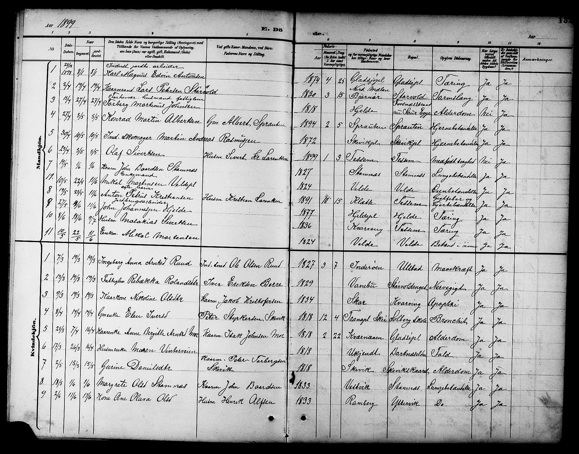 SAT, Ministerialprotokoller, klokkerbøker og fødselsregistre - Nord-Trøndelag, 741/L0401: Klokkerbok nr. 741C02, 1899-1911, s. 132