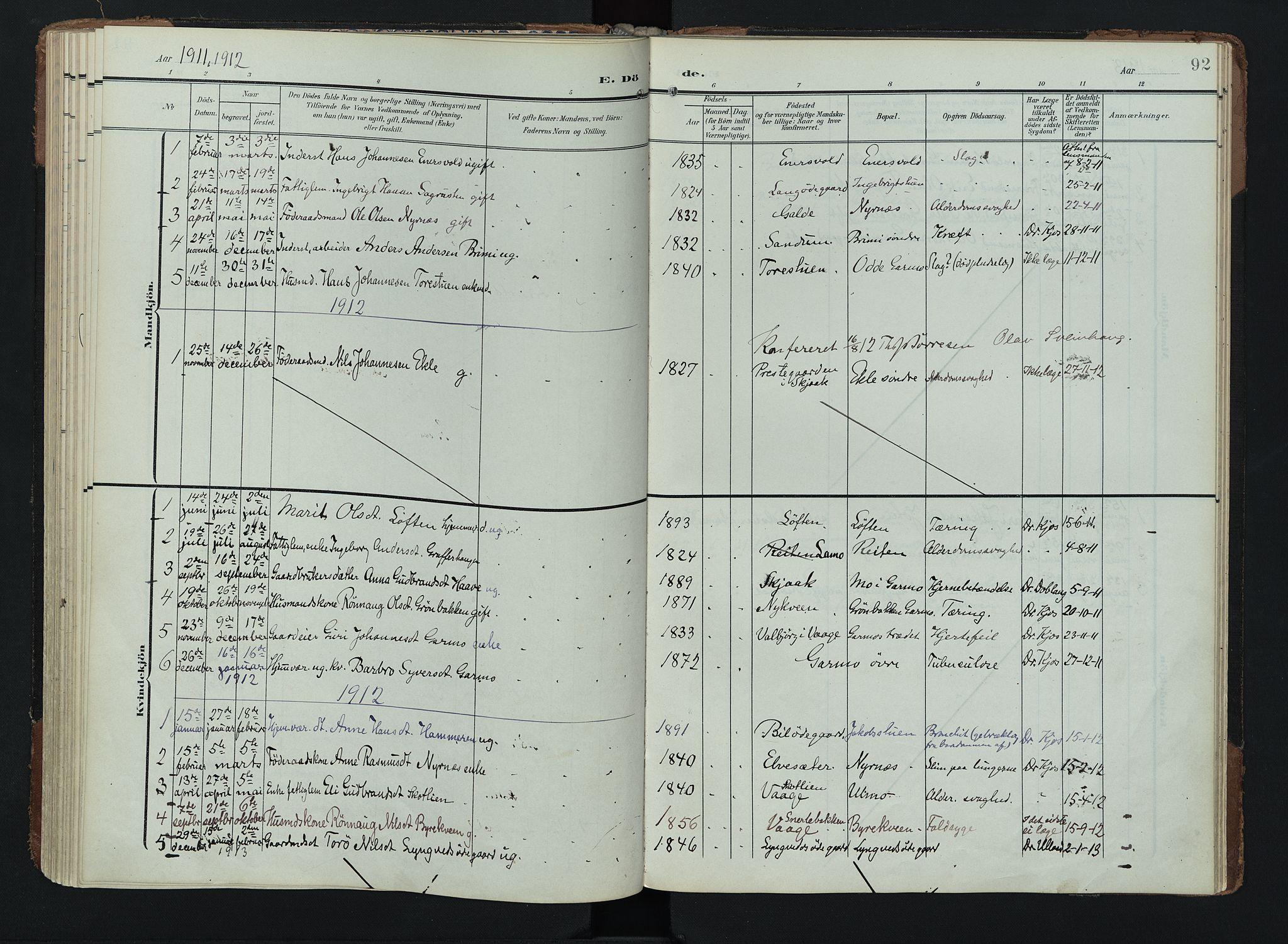 SAH, Lom prestekontor, K/L0011: Ministerialbok nr. 11, 1904-1928, s. 92