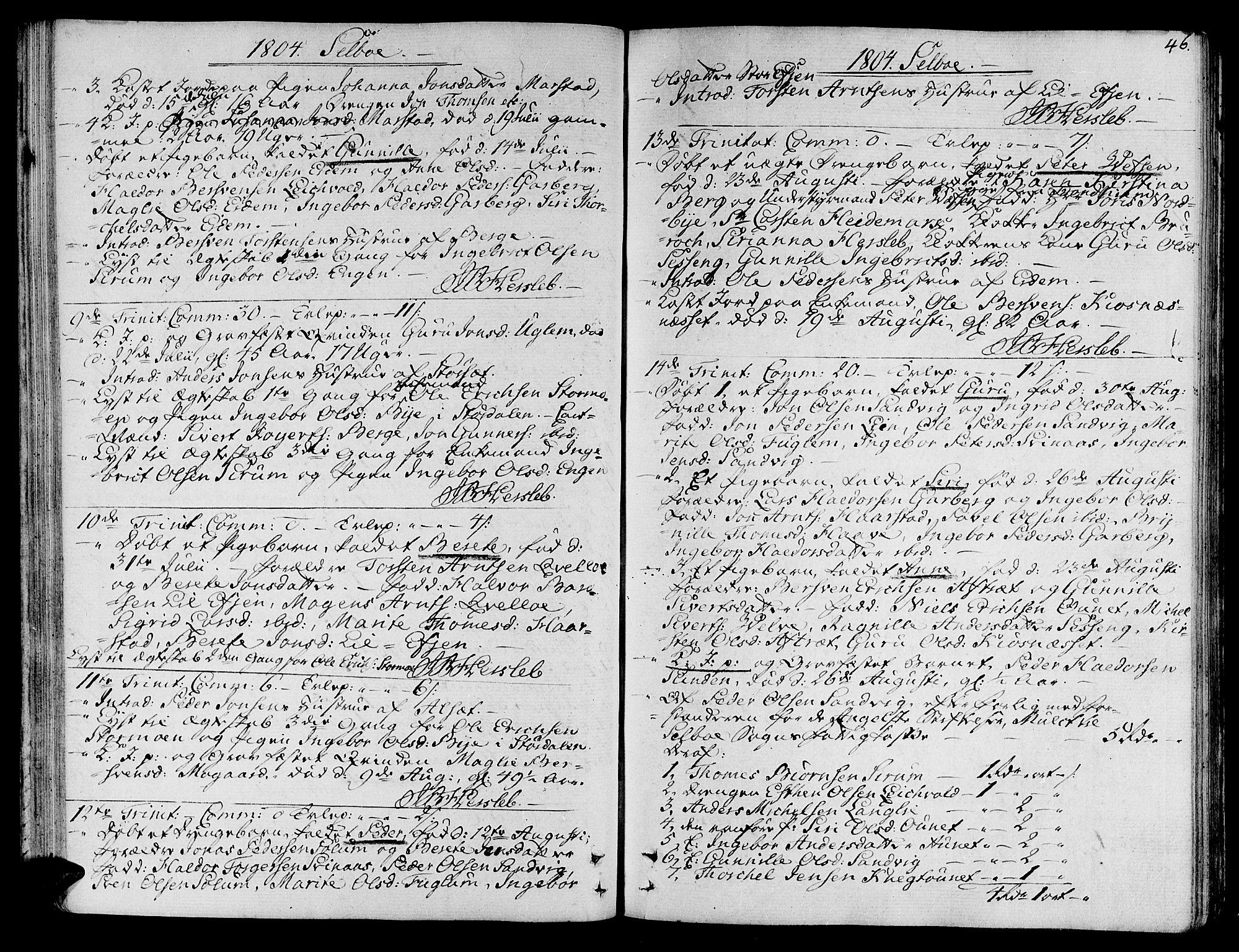 SAT, Ministerialprotokoller, klokkerbøker og fødselsregistre - Sør-Trøndelag, 695/L1140: Ministerialbok nr. 695A03, 1801-1815, s. 46