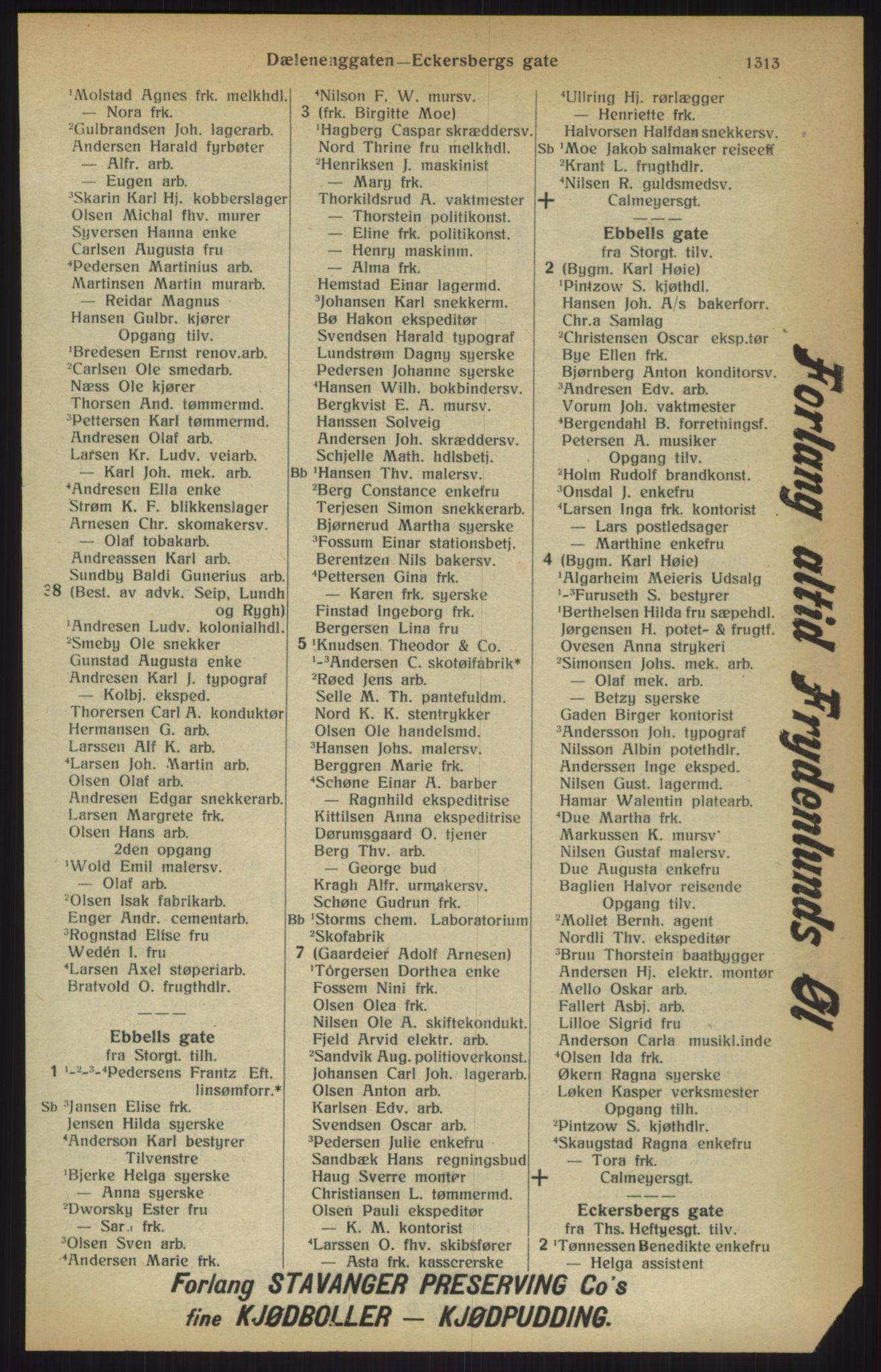 RA, Kristiania adressebok (publikasjon)*, 1915, s. 1313