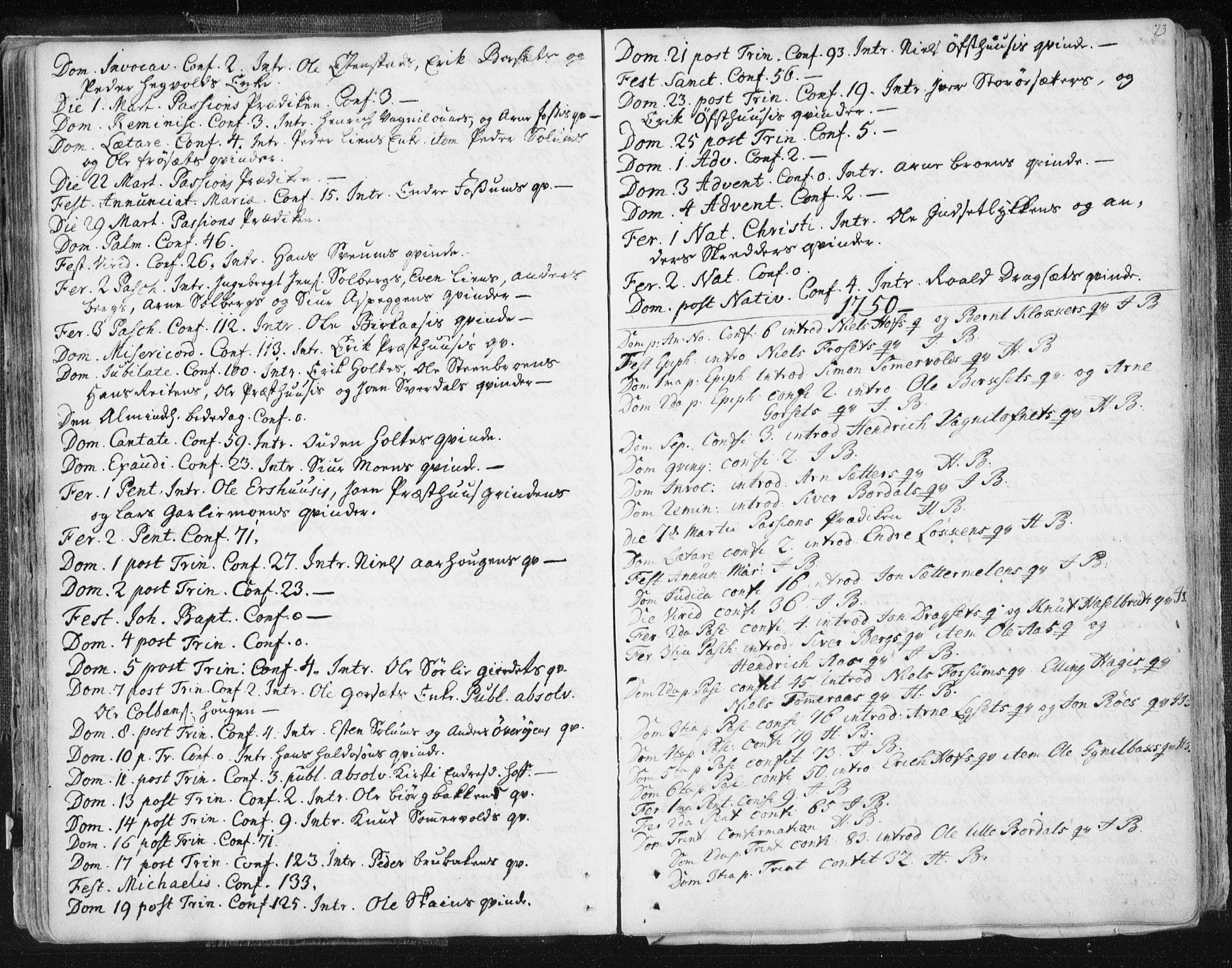 SAT, Ministerialprotokoller, klokkerbøker og fødselsregistre - Sør-Trøndelag, 687/L0991: Ministerialbok nr. 687A02, 1747-1790, s. 73