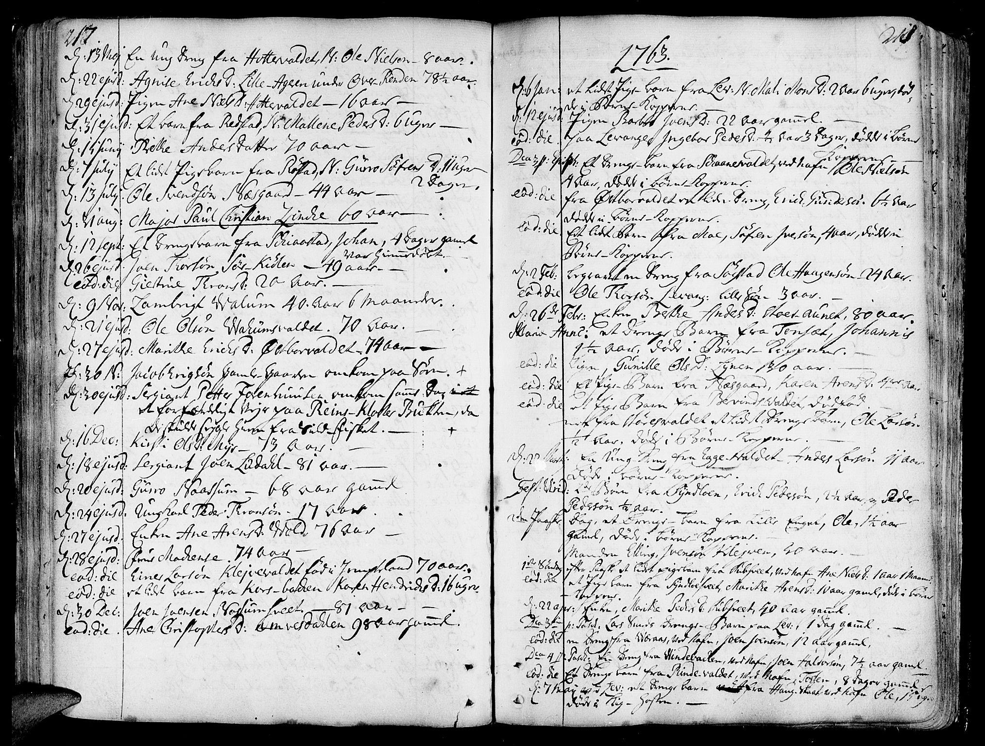 SAT, Ministerialprotokoller, klokkerbøker og fødselsregistre - Nord-Trøndelag, 717/L0141: Ministerialbok nr. 717A01, 1747-1803, s. 217-218
